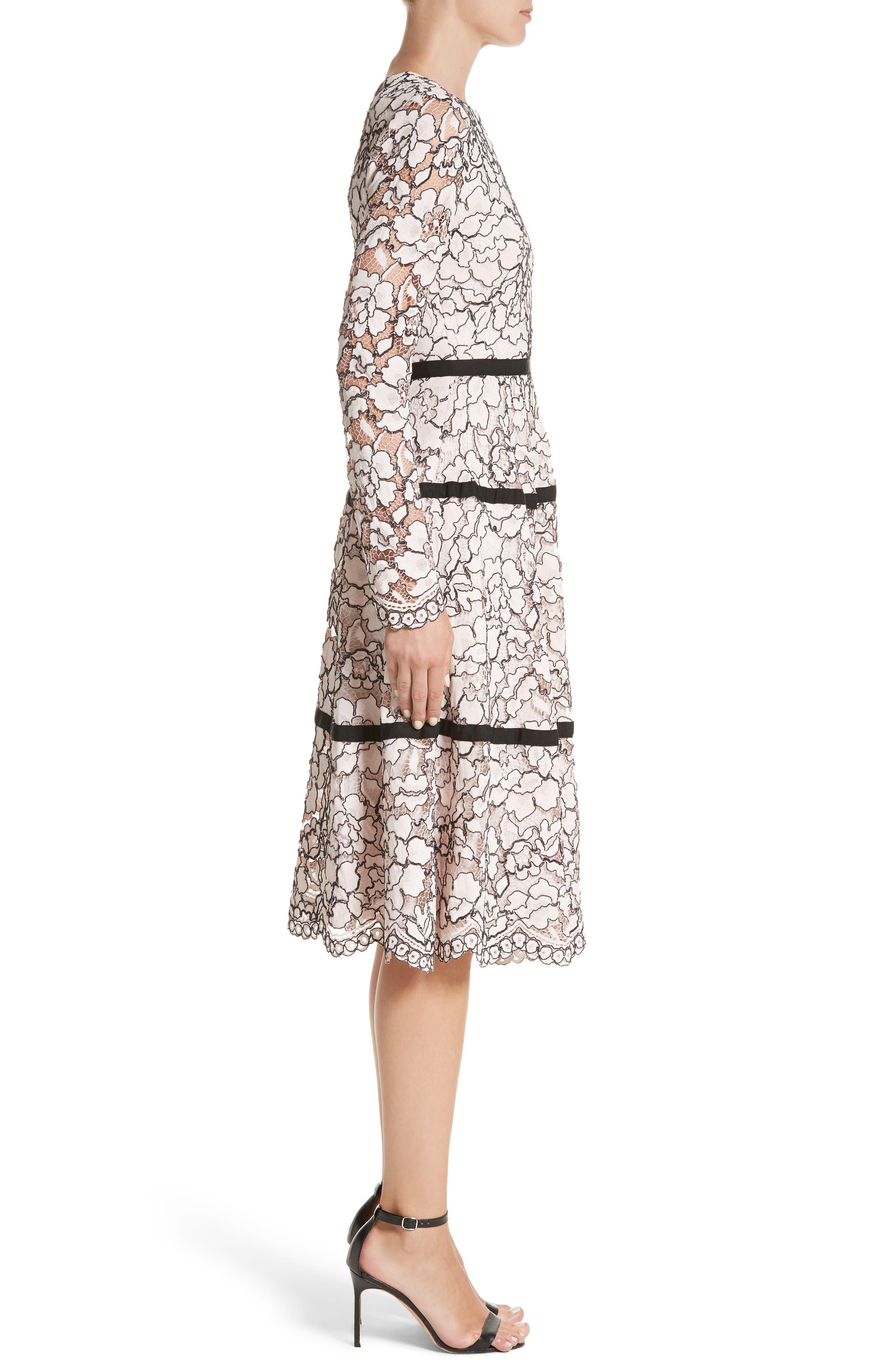 Seamed Lace A-Line Dress,                             Alternate thumbnail 4, color,                             Petal