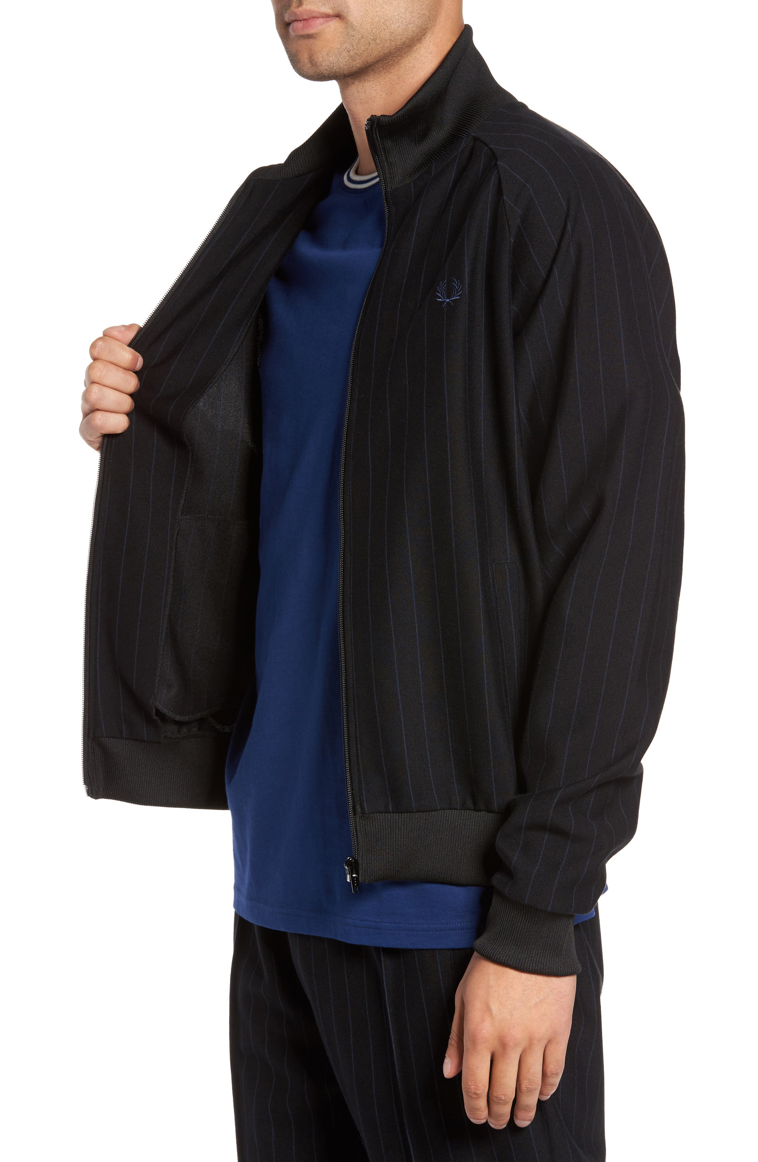 Pinstripe Track Jacket,                             Alternate thumbnail 3, color,                             Black
