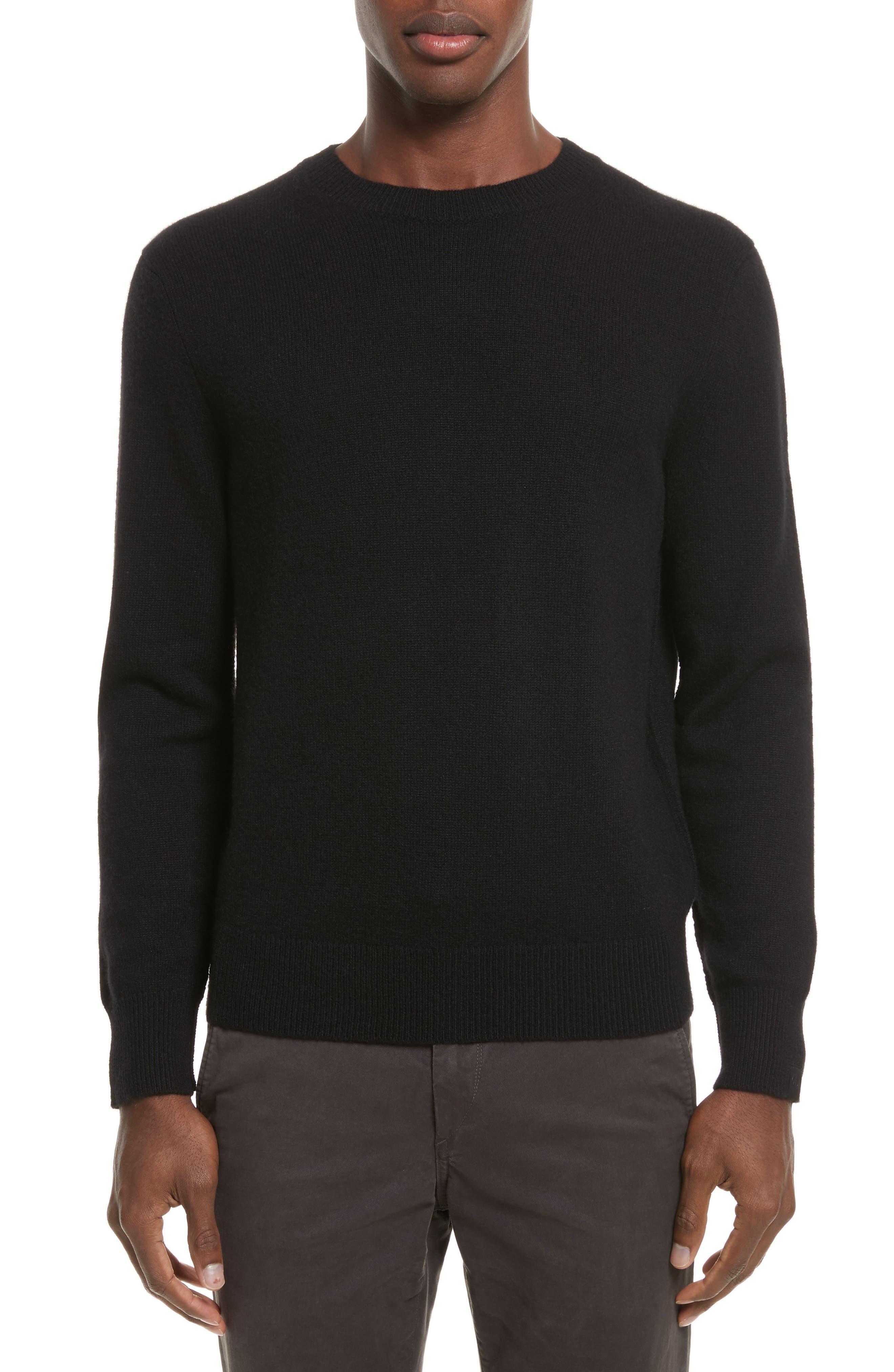 Haldon Cashmere Crewneck Sweatshirt,                         Main,                         color, Black
