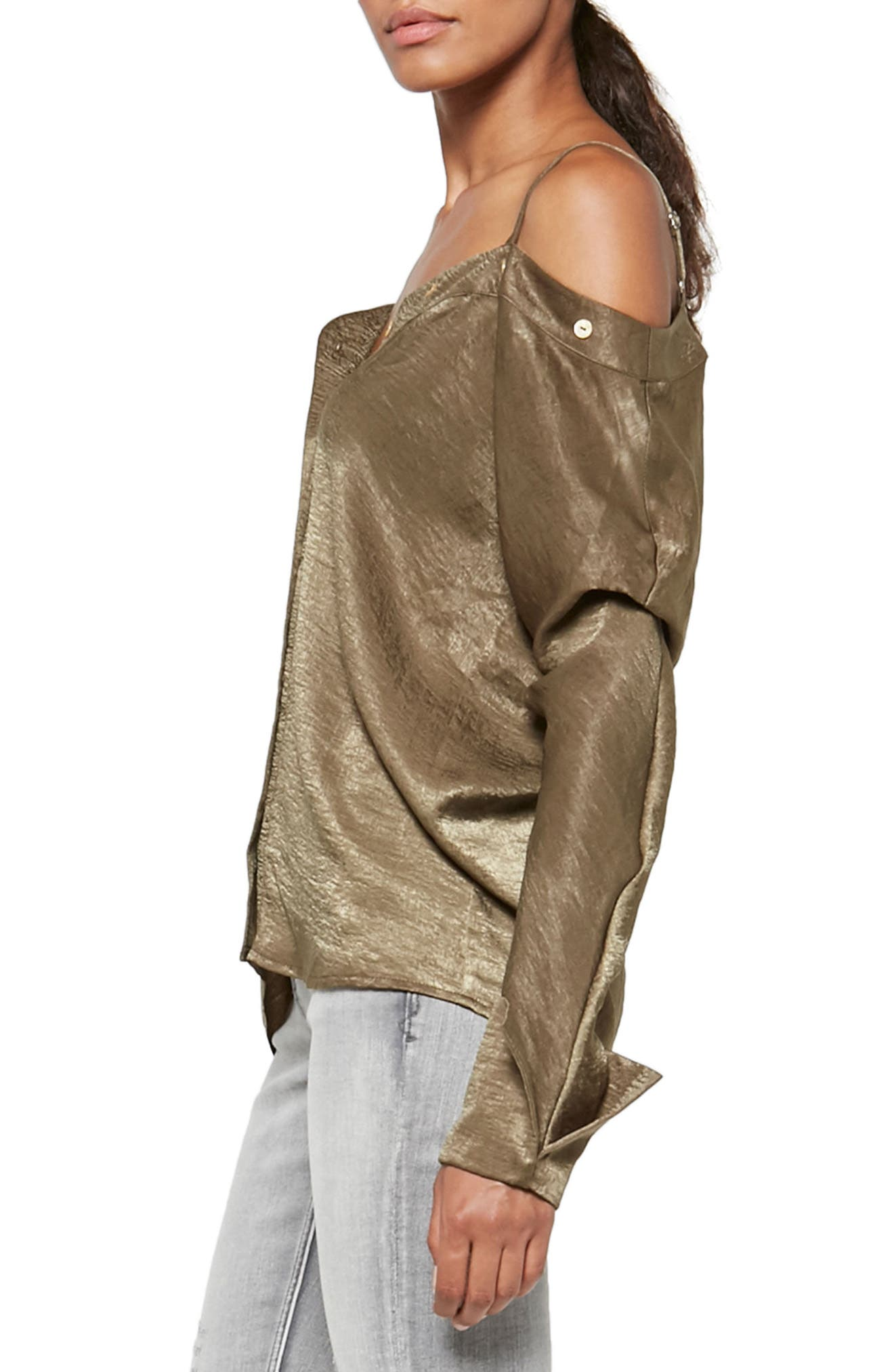 Alpha & Omega Satin Off the Shoulder Blouse,                             Alternate thumbnail 3, color,                             Olive