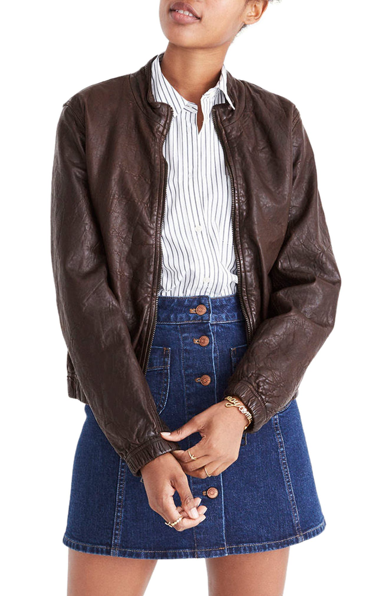 Leather Bomber Jacket,                         Main,                         color, Dark Coffee