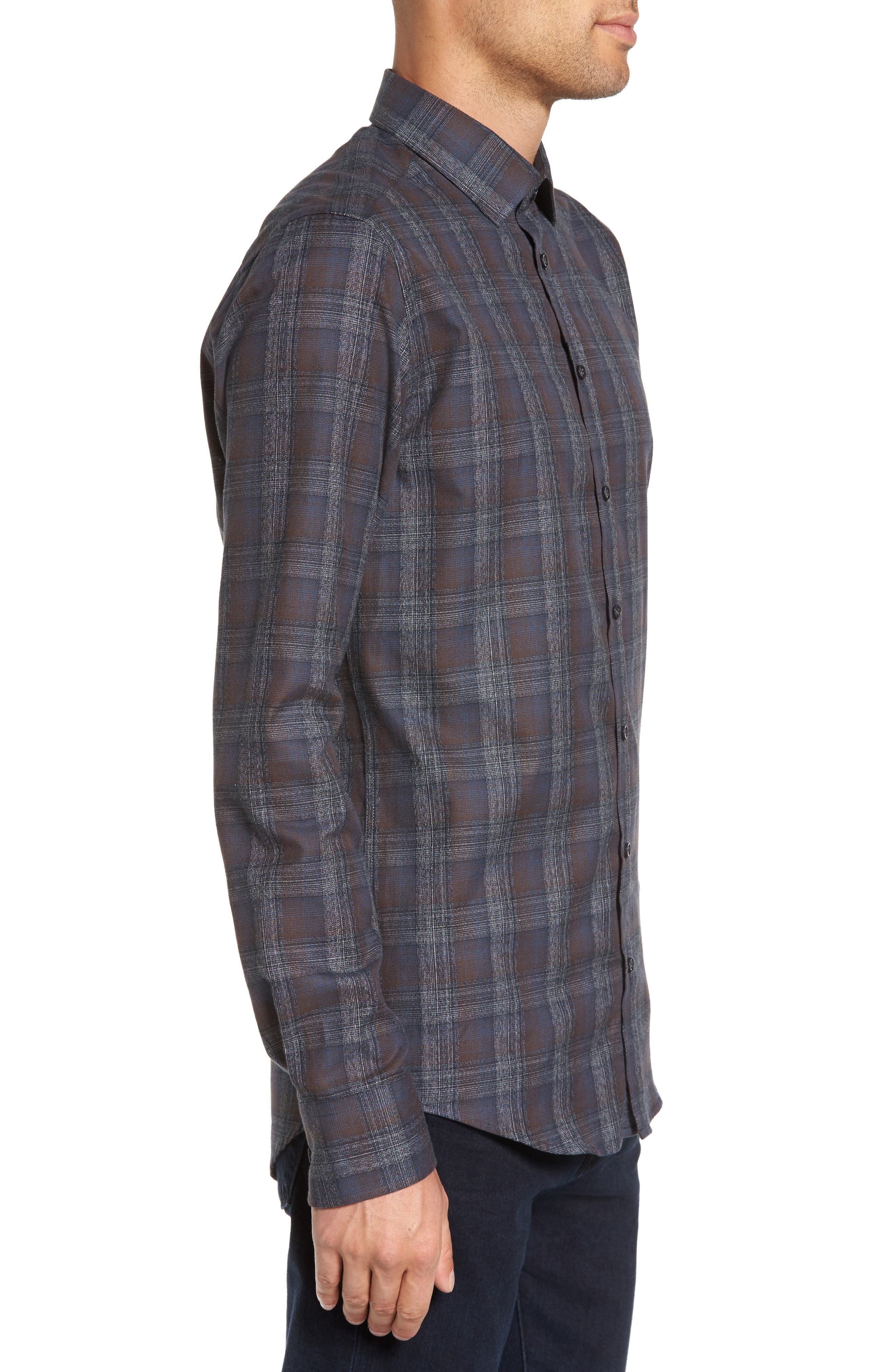 Trim Fit Plaid Sport Shirt,                             Alternate thumbnail 3, color,                             290 Brown Grey Plaid