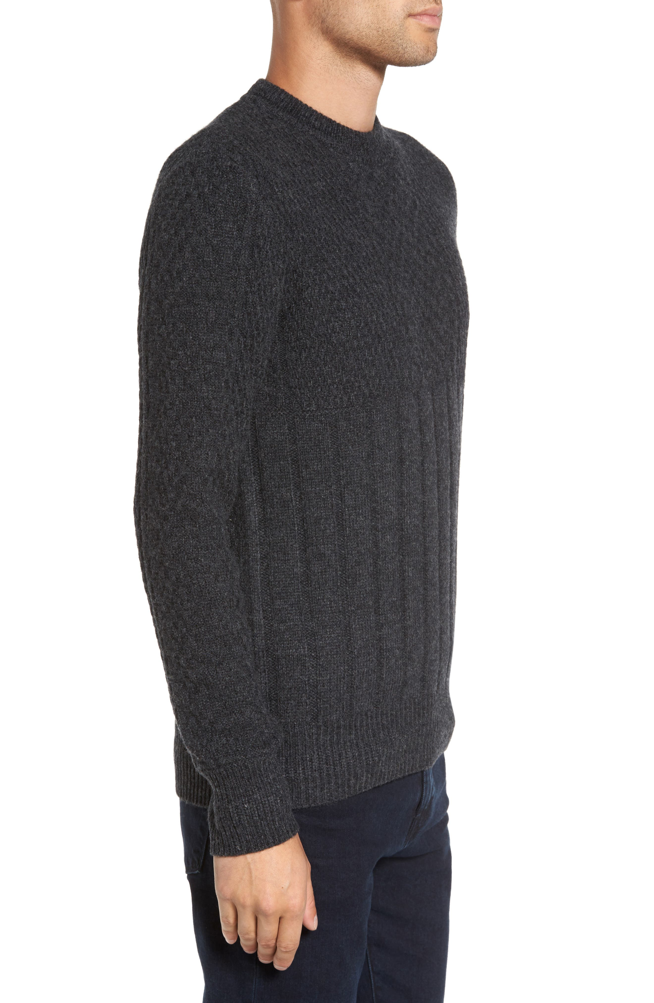 Wool Crewneck Sweater,                             Alternate thumbnail 3, color,                             Charcoal