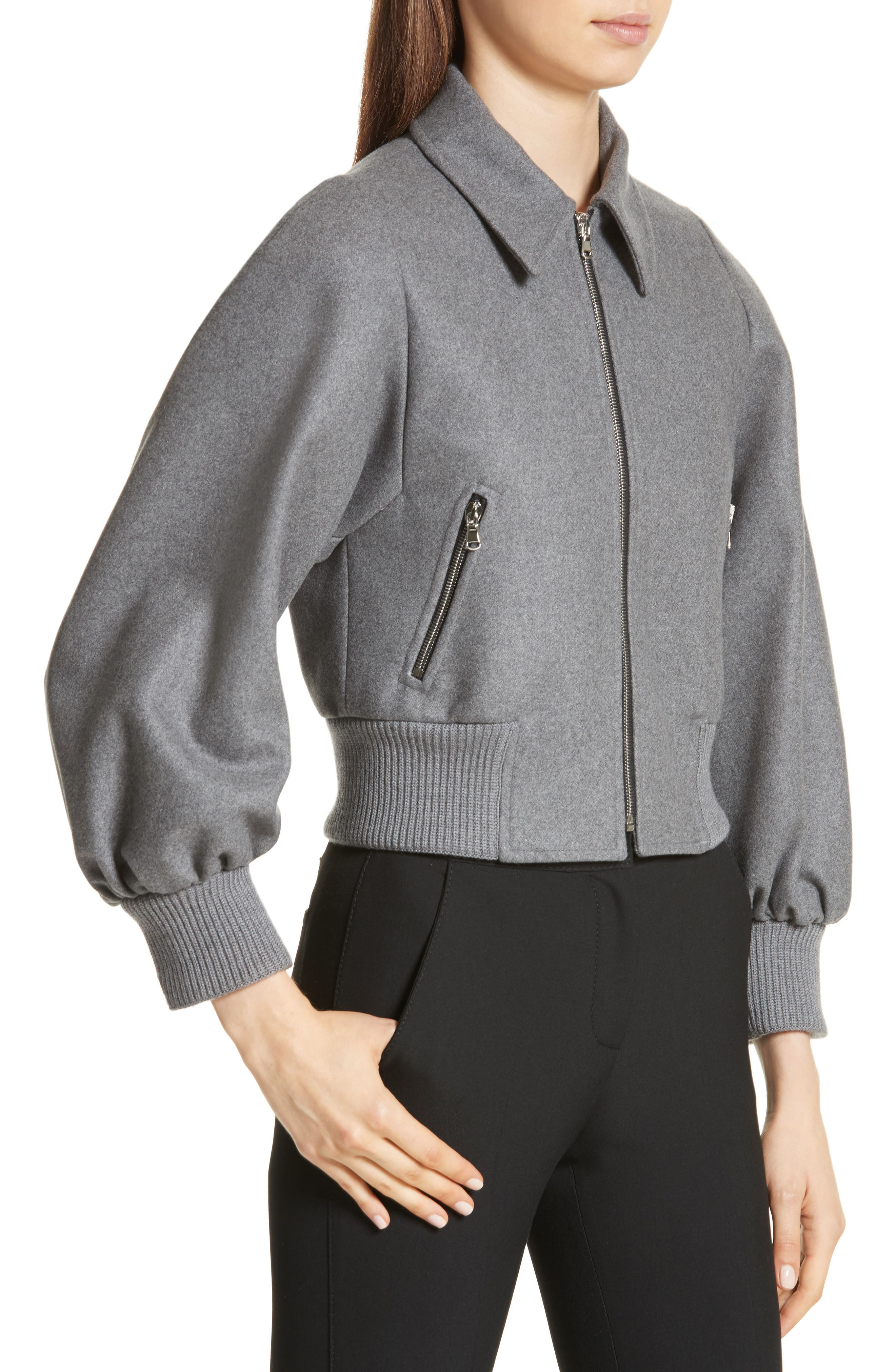 Mélange Wool Blend Jacket,                             Alternate thumbnail 4, color,                             Ardesia