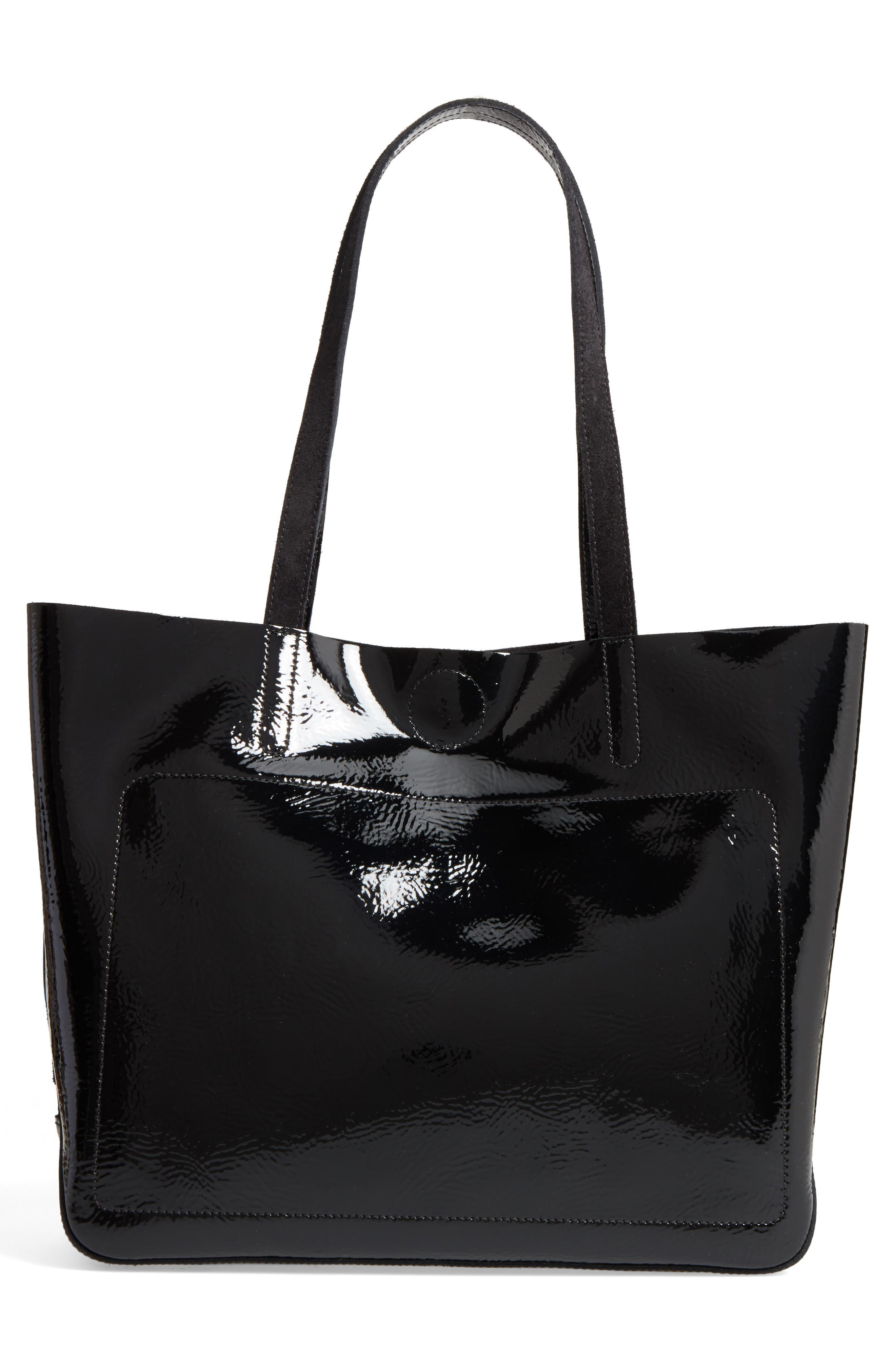Shop-It Leather Tote,                             Alternate thumbnail 2, color,                             Black