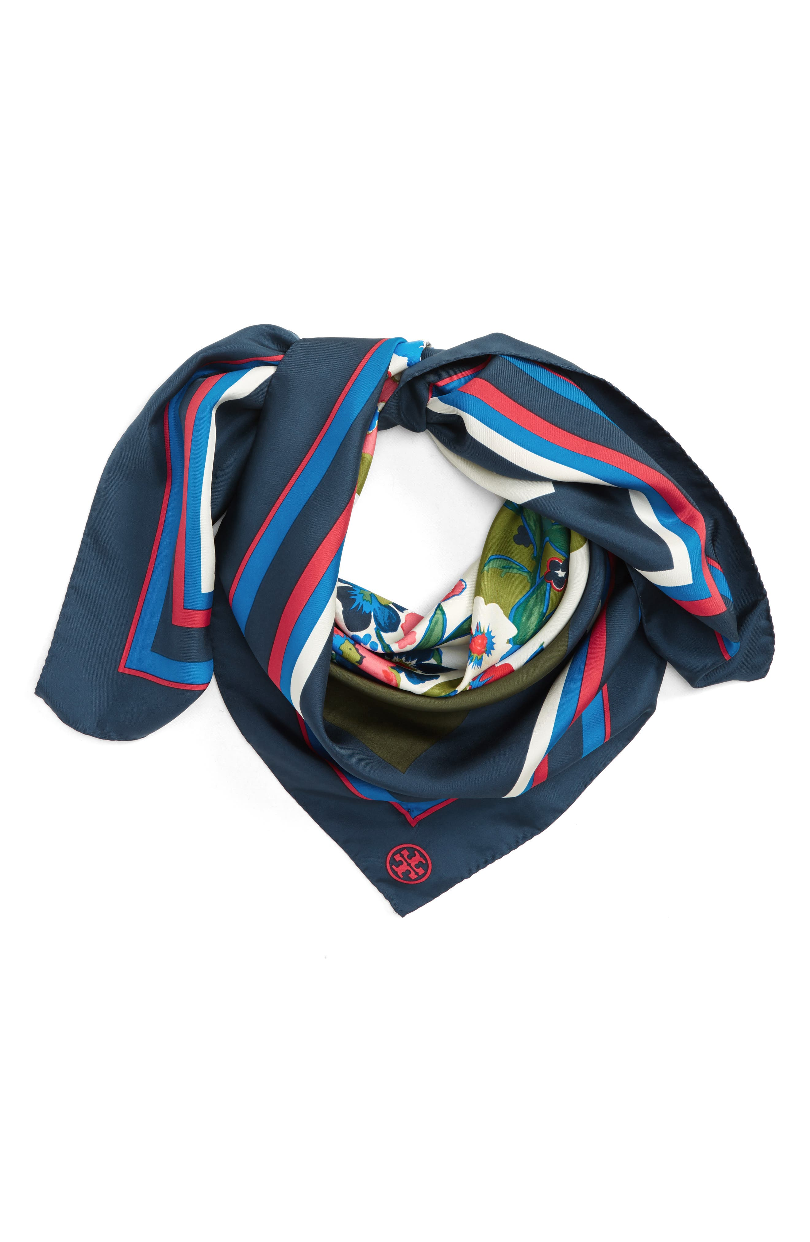 Tory Burch Paisley Bouquet Silk Square Scarf
