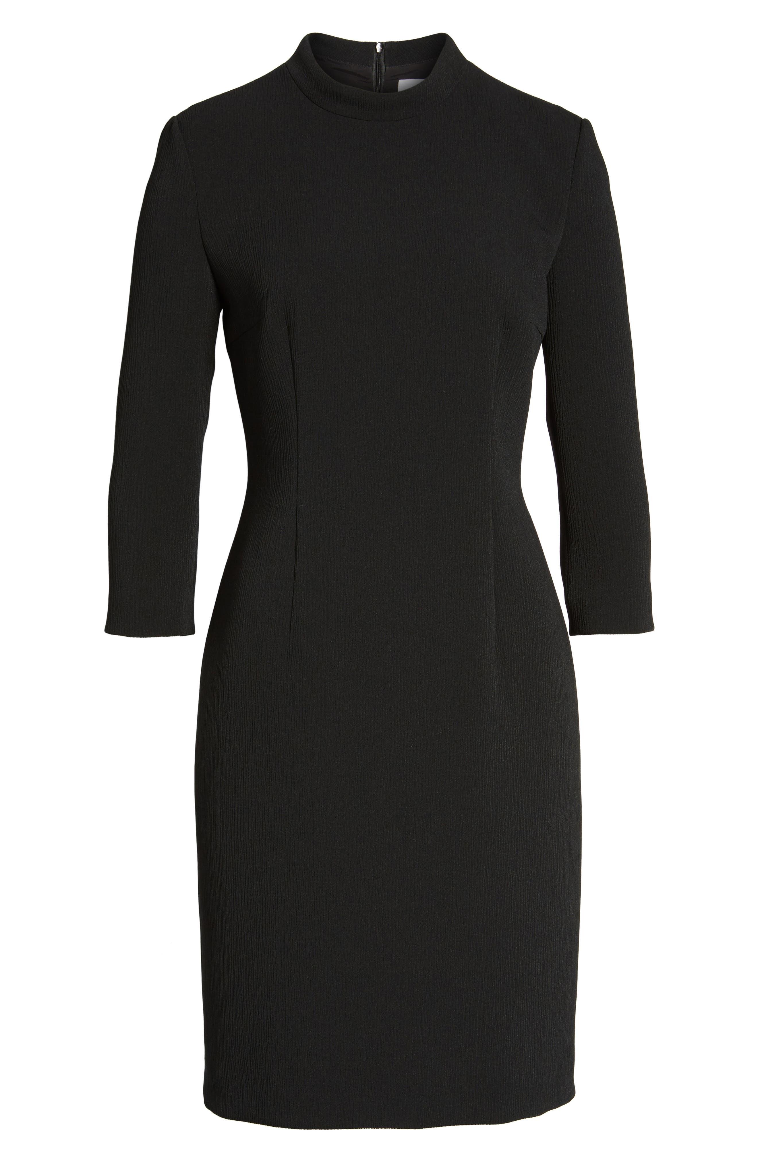 Dadena Crepe Sheath Dress,                             Alternate thumbnail 6, color,                             Black