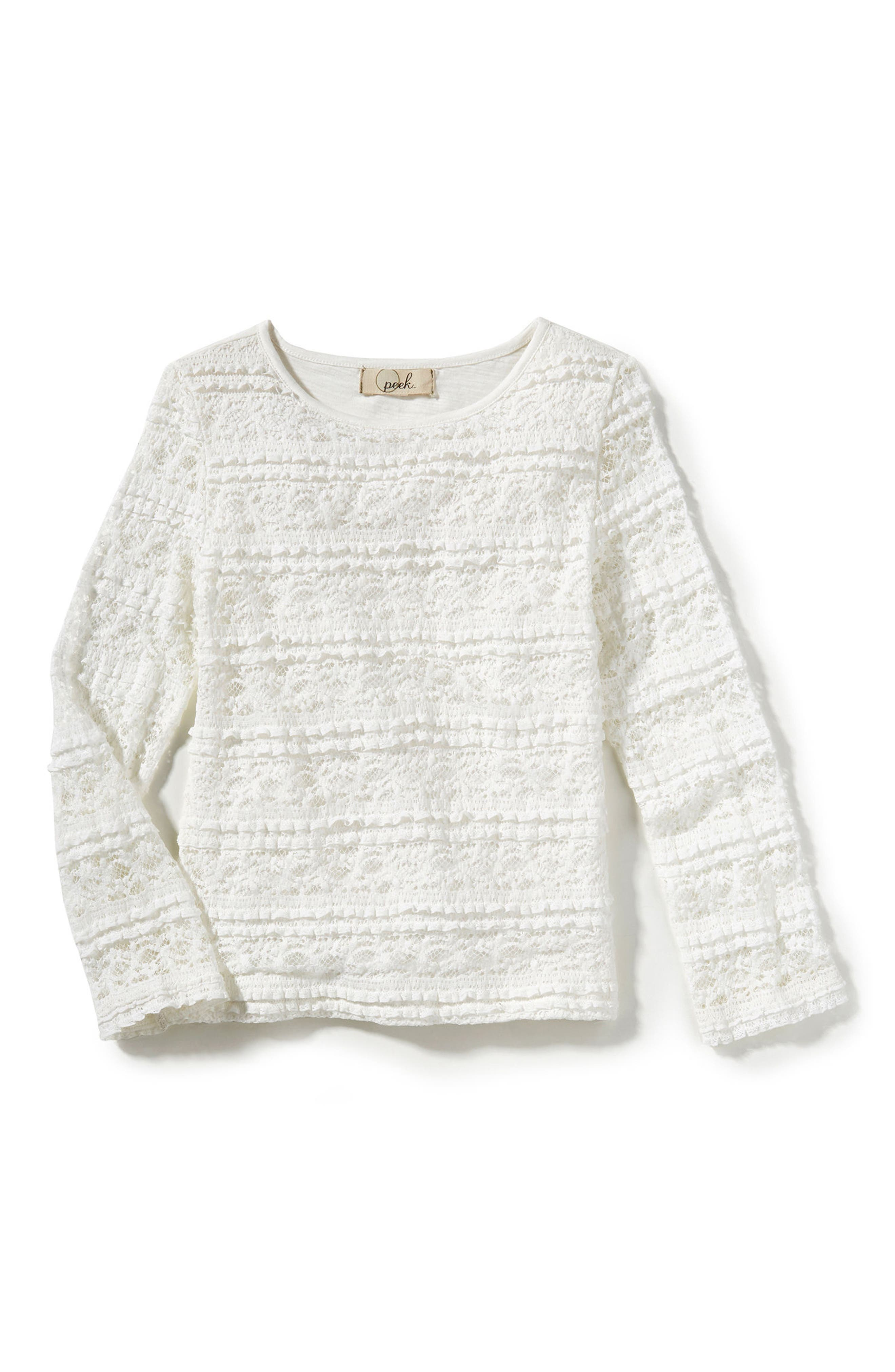 Dylan Lace Tee,                         Main,                         color, White