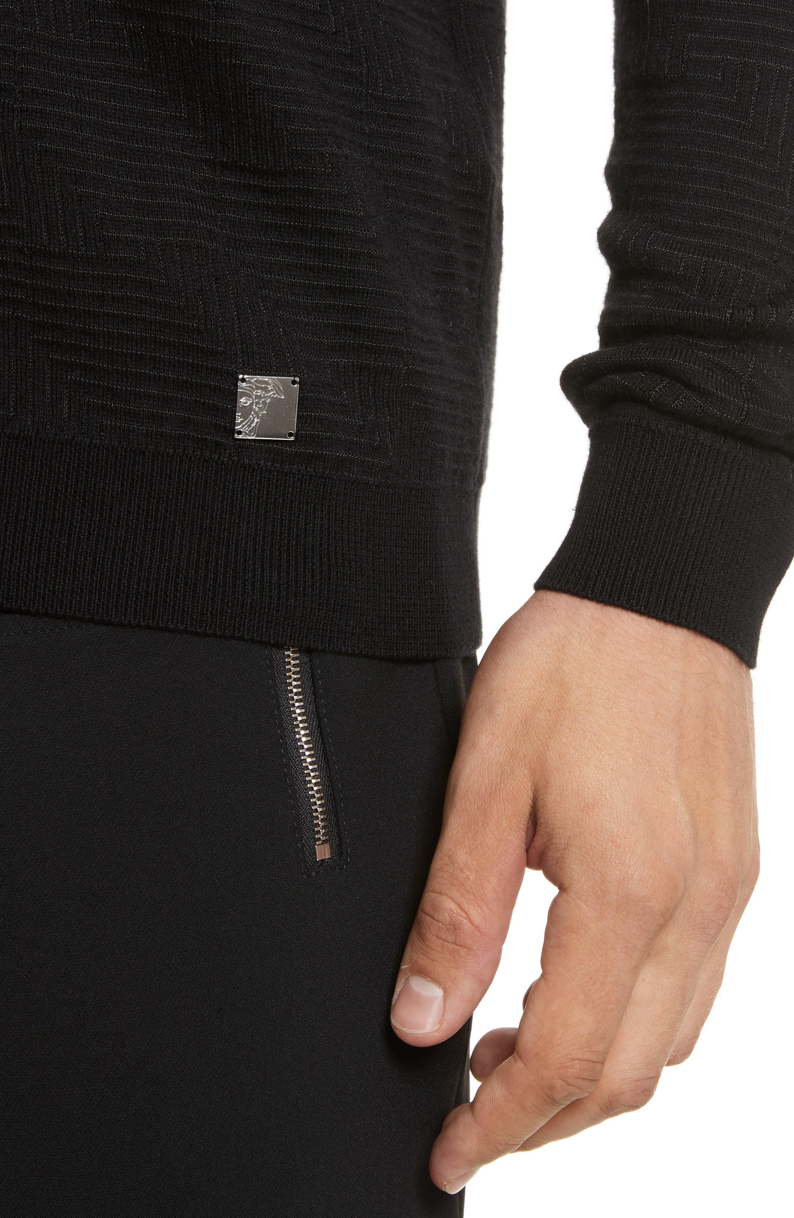 Frame Jacquard Sweater,                             Alternate thumbnail 4, color,                             Black