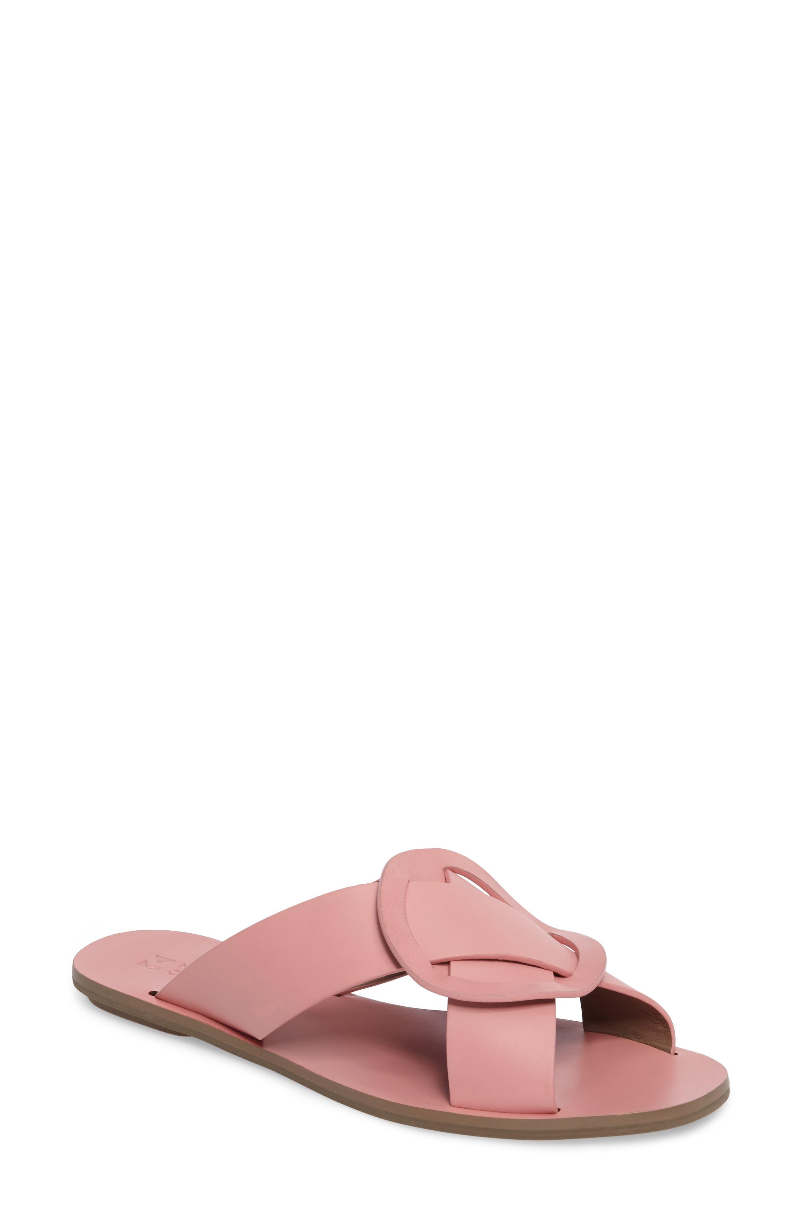 Carlein Slide Sandal,                             Main thumbnail 1, color,                             Pink Peony Leather