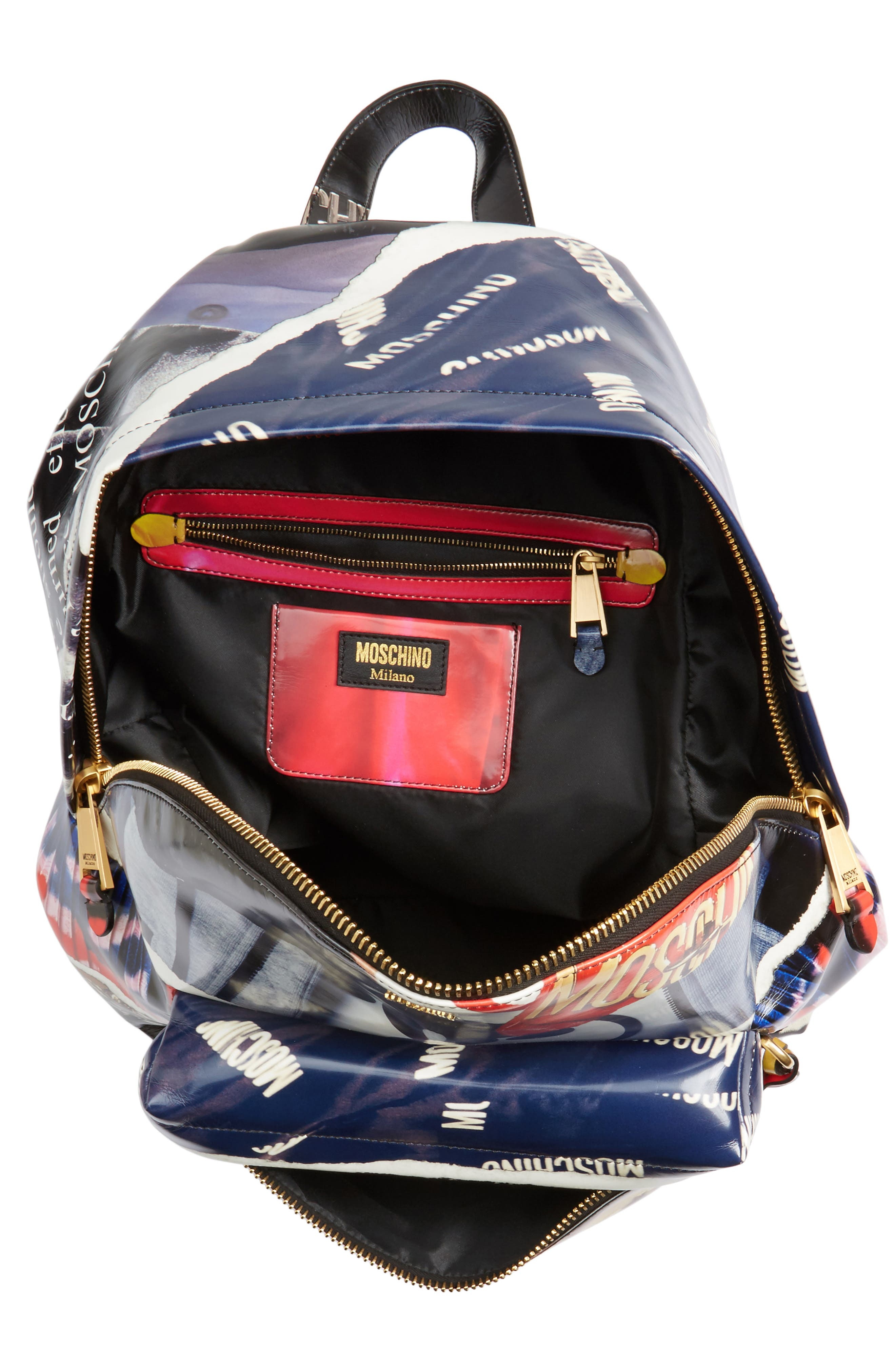 Editorial Logo Faux Leather Backpack,                             Alternate thumbnail 4, color,                             Blue Multi