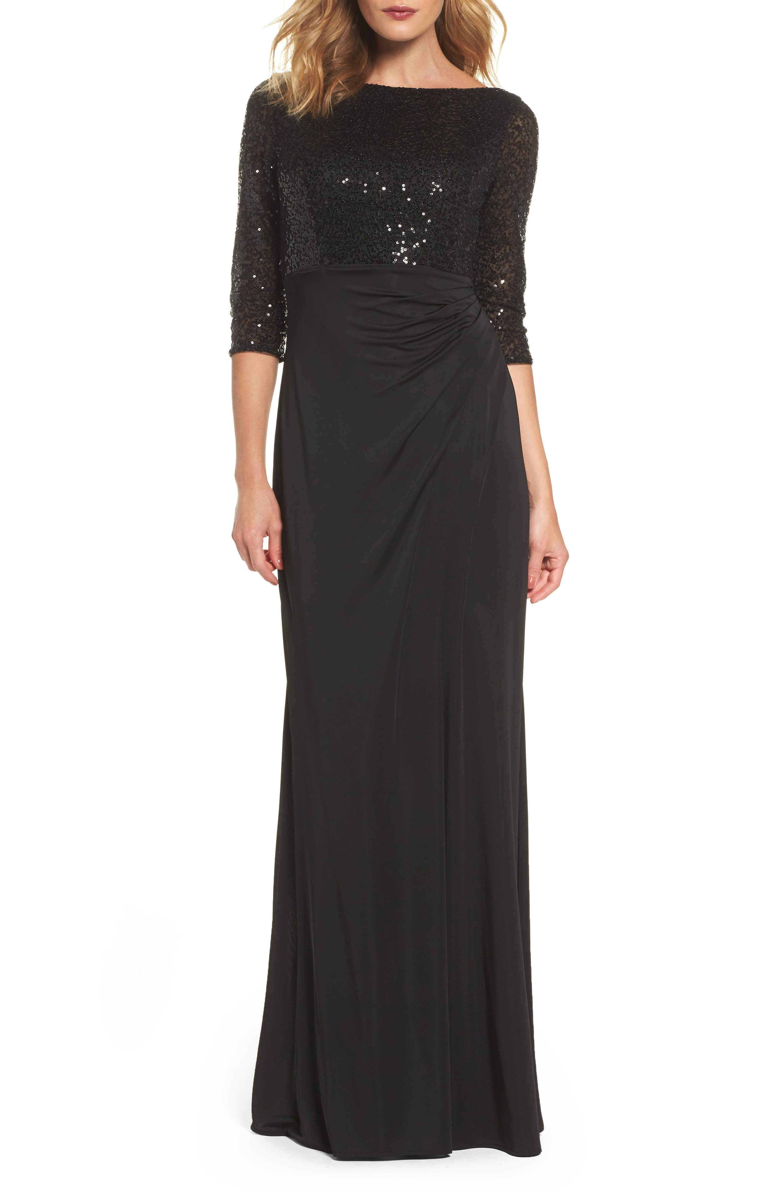 Sequin & Jersey Gown,                         Main,                         color, Black
