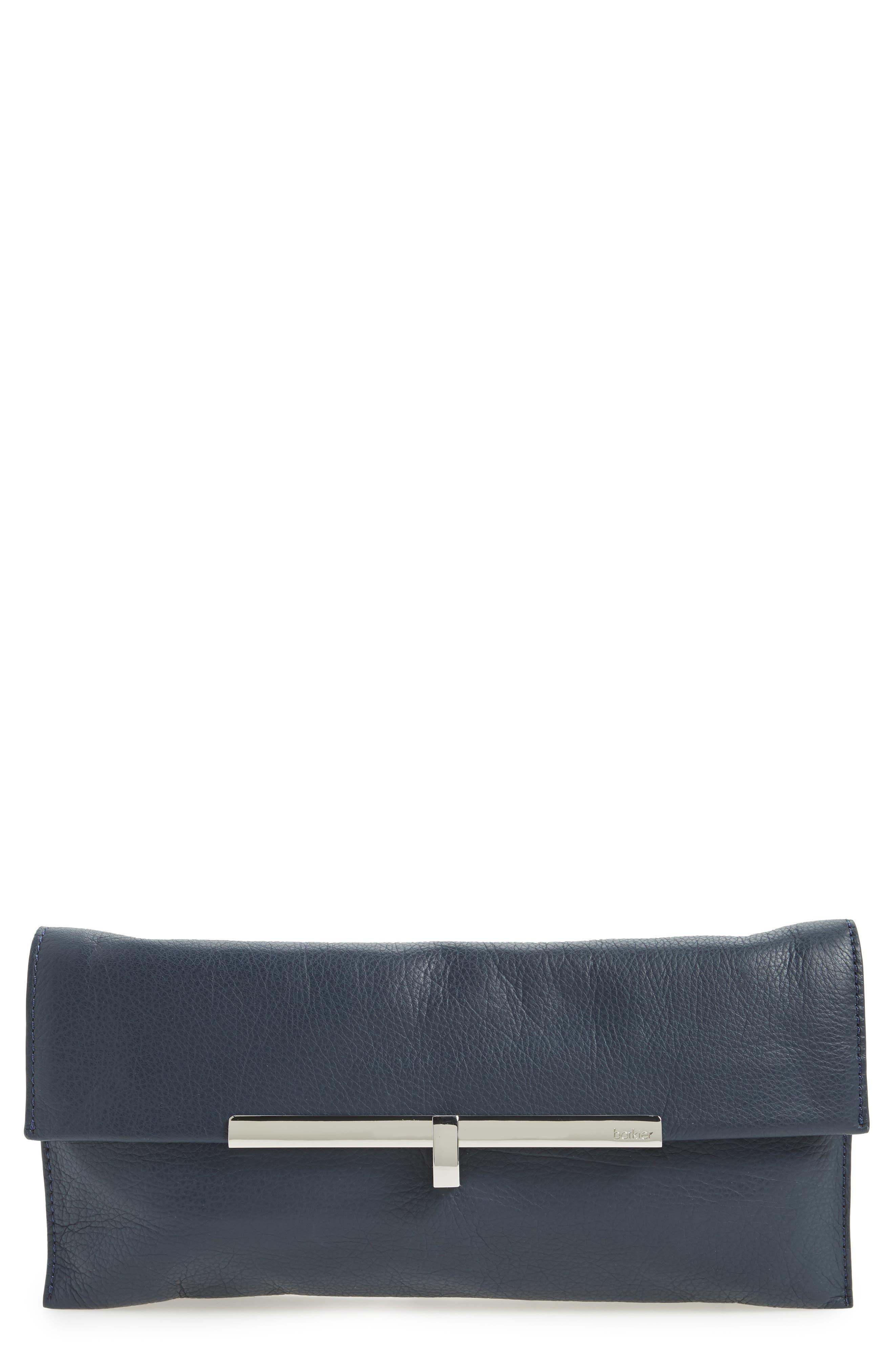 Bleeker Leather Clutch,                             Main thumbnail 1, color,                             Sapphire