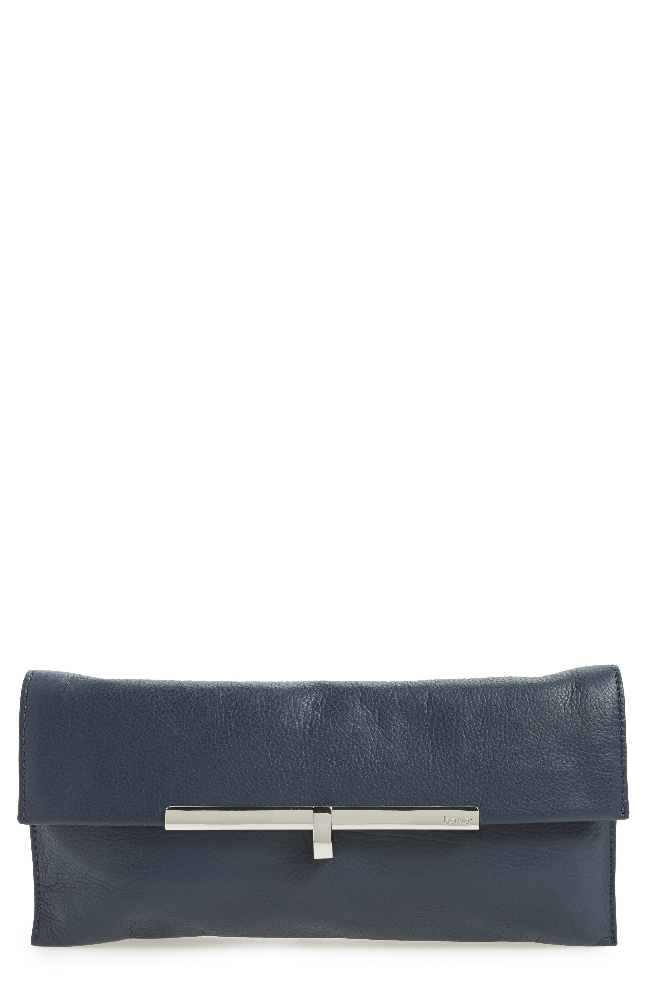 Bleeker Leather Clutch,                         Main,                         color, Sapphire