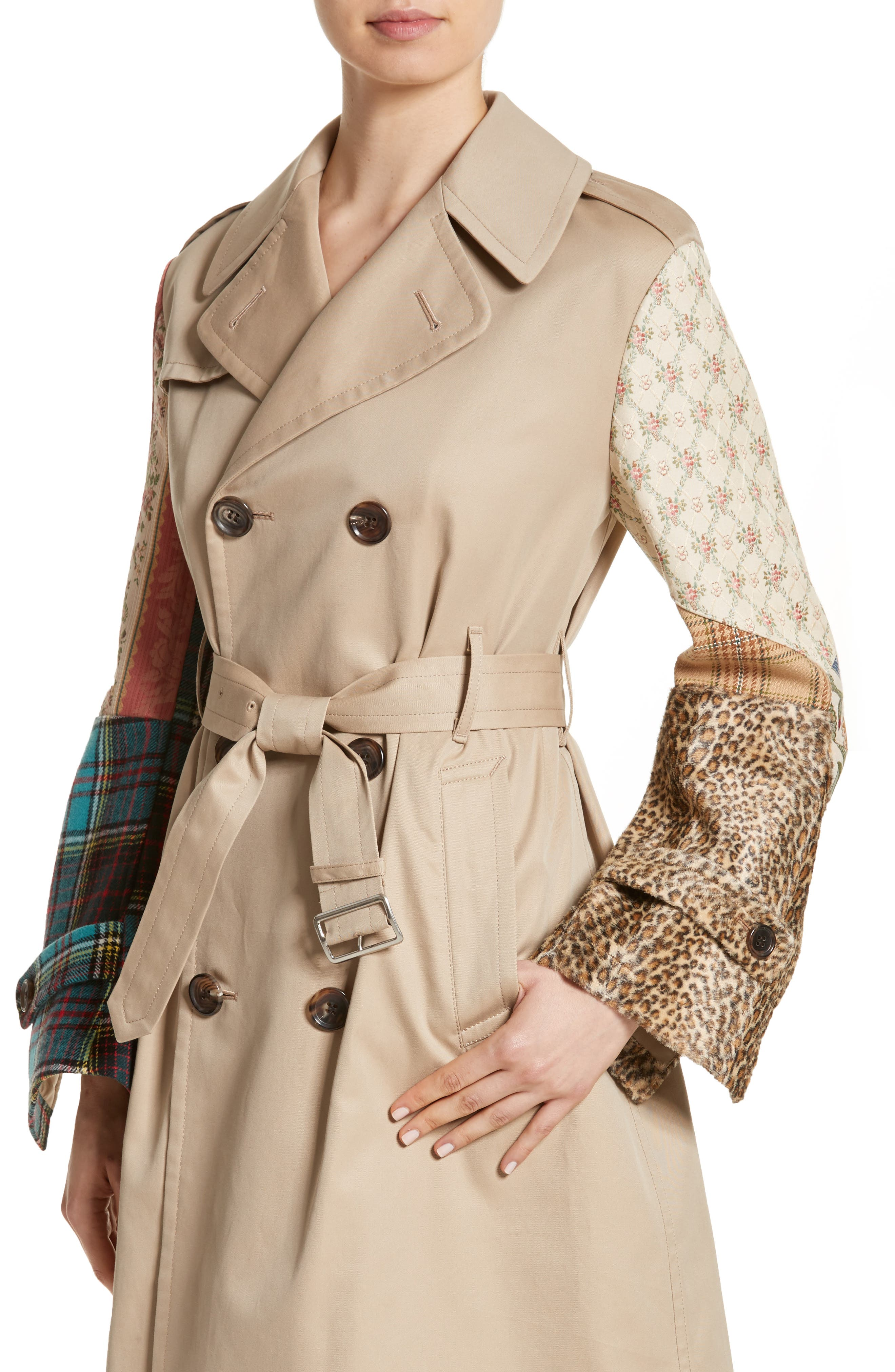 Patterned Sleeve Trench Coat,                             Alternate thumbnail 6, color,                             Beige X Mix