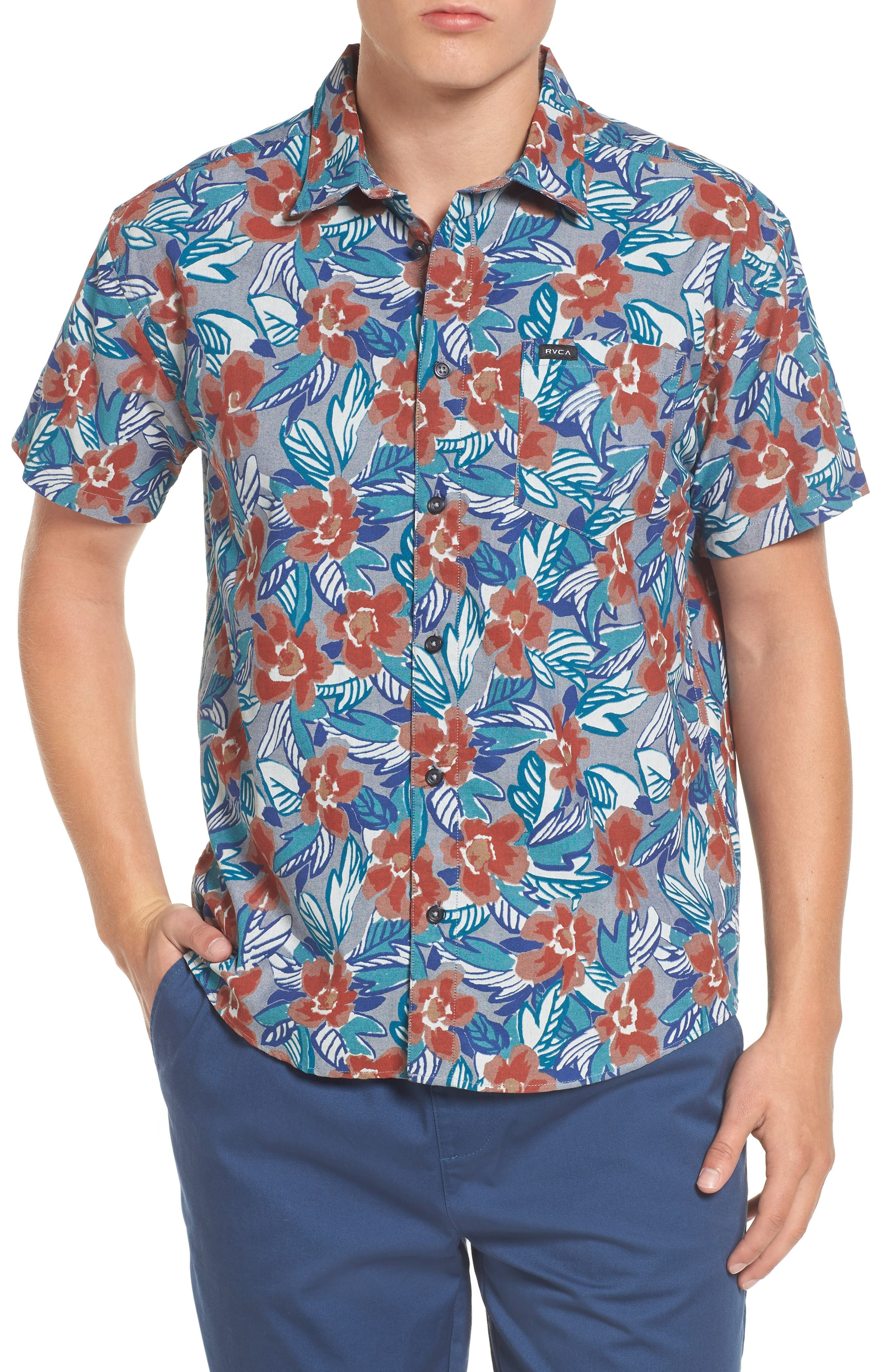 Alternate Image 1 Selected - RVCA Paradise Valley Floral Woven Shirt