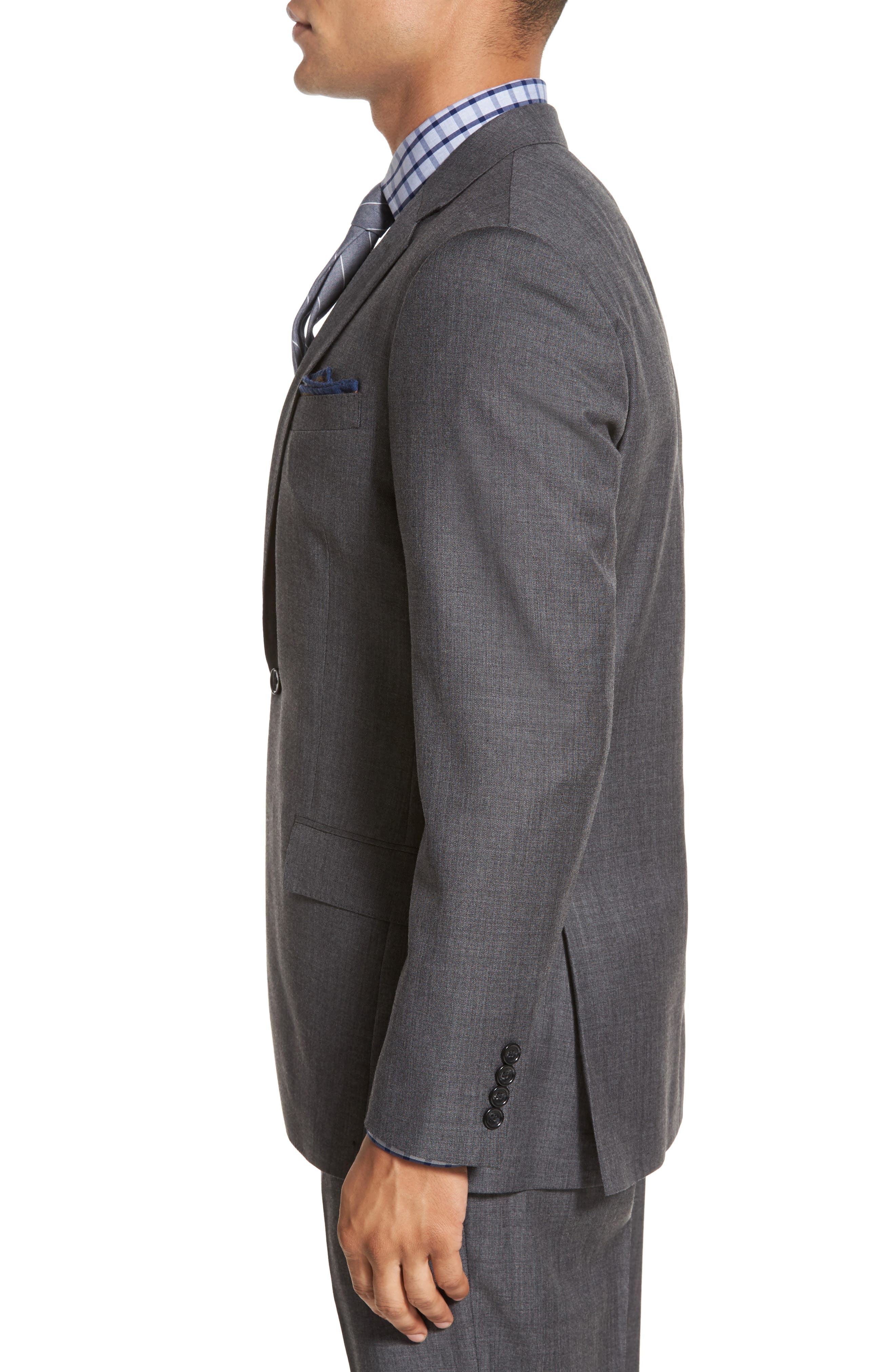 J.Crew Ludlow Trim Fit Solid Wool Sport Coat,                             Alternate thumbnail 3, color,                             Charcoal