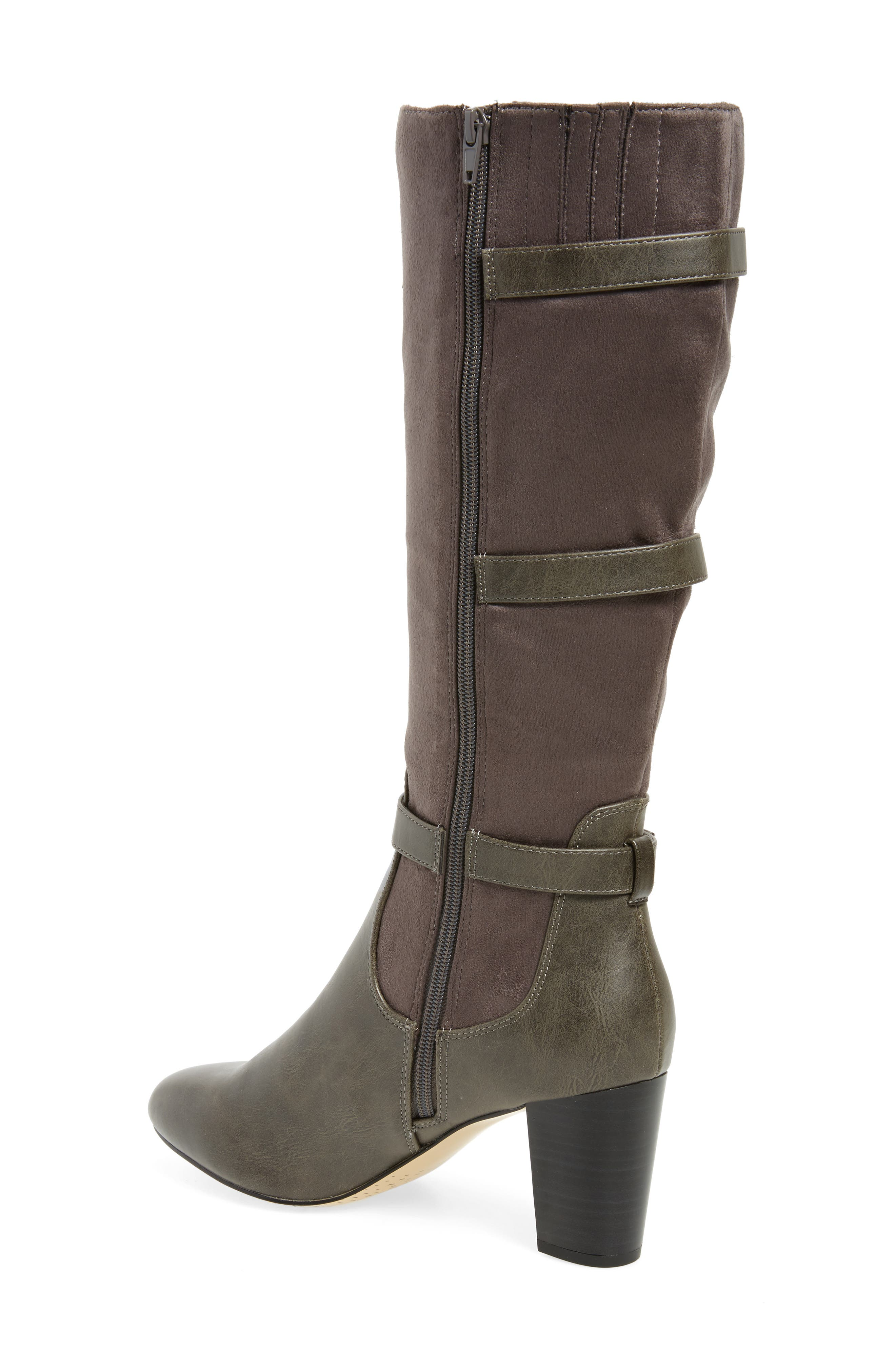 Talina II Belted Knee High Boot,                             Alternate thumbnail 2, color,                             Grey Suede