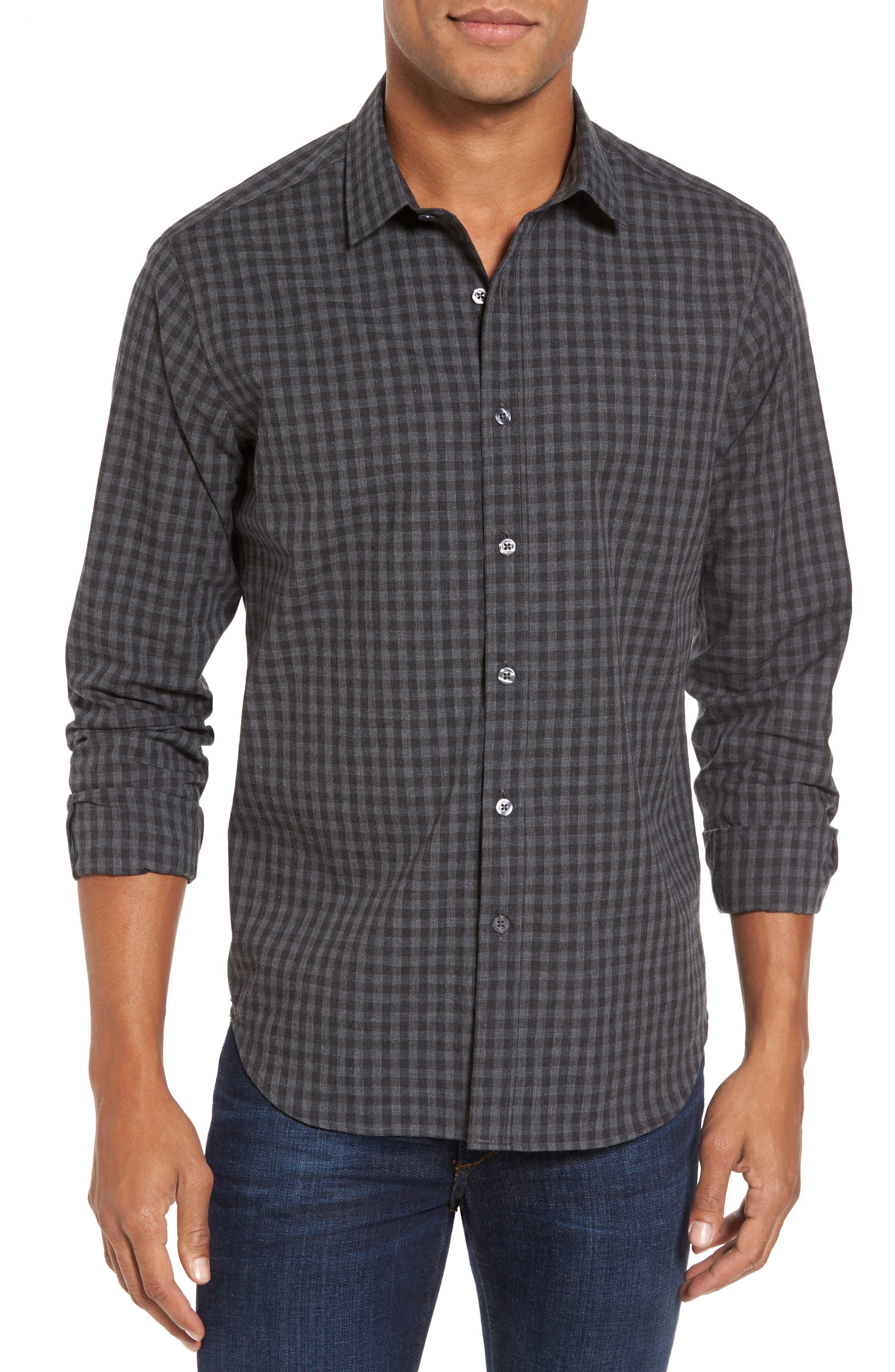 Slim Fit Print Sport Shirt,                         Main,                         color, Grey