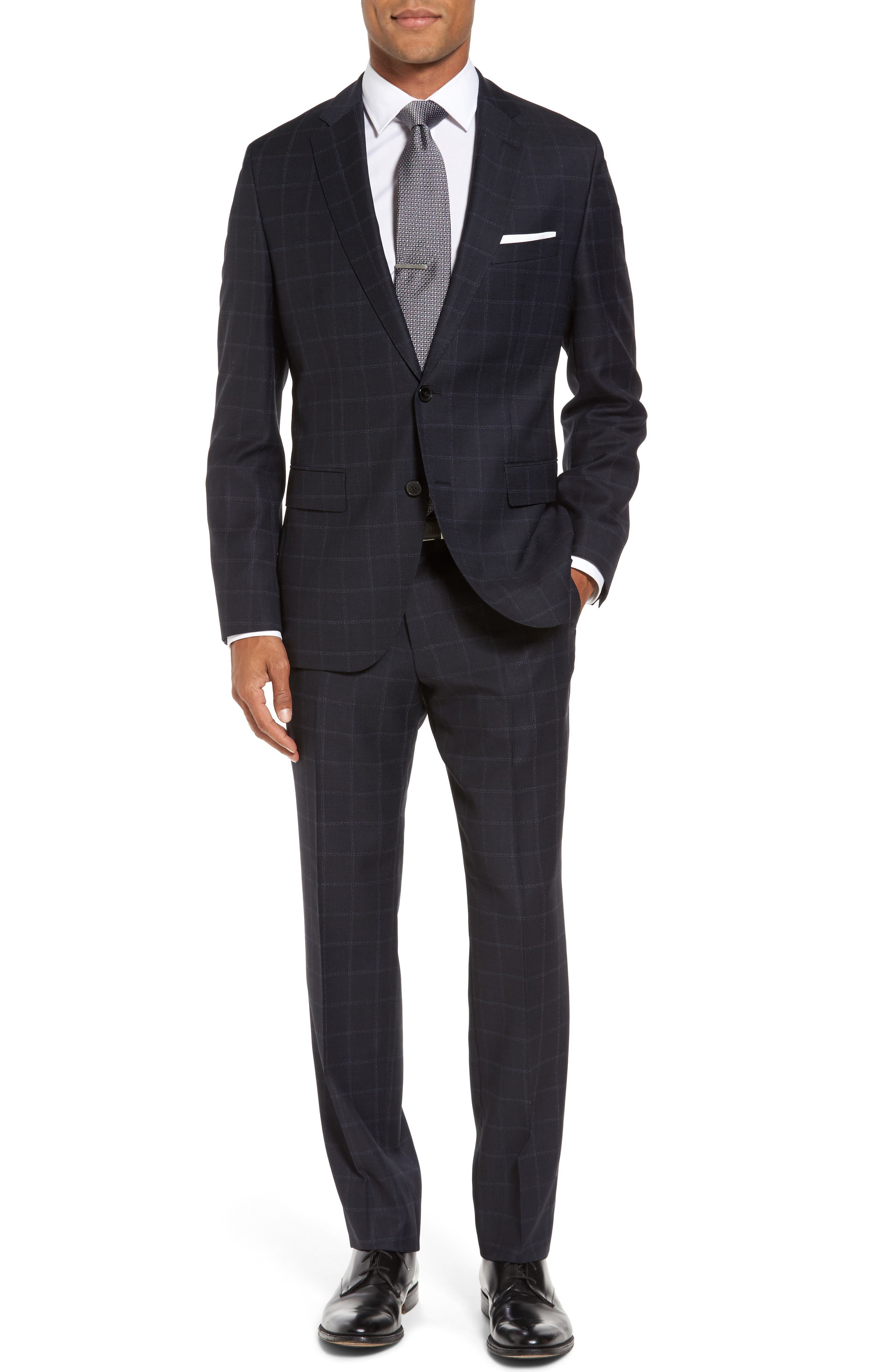 Johnstons/Lenon Classic Fit Windowpane Wool Suit,                         Main,                         color, Navy