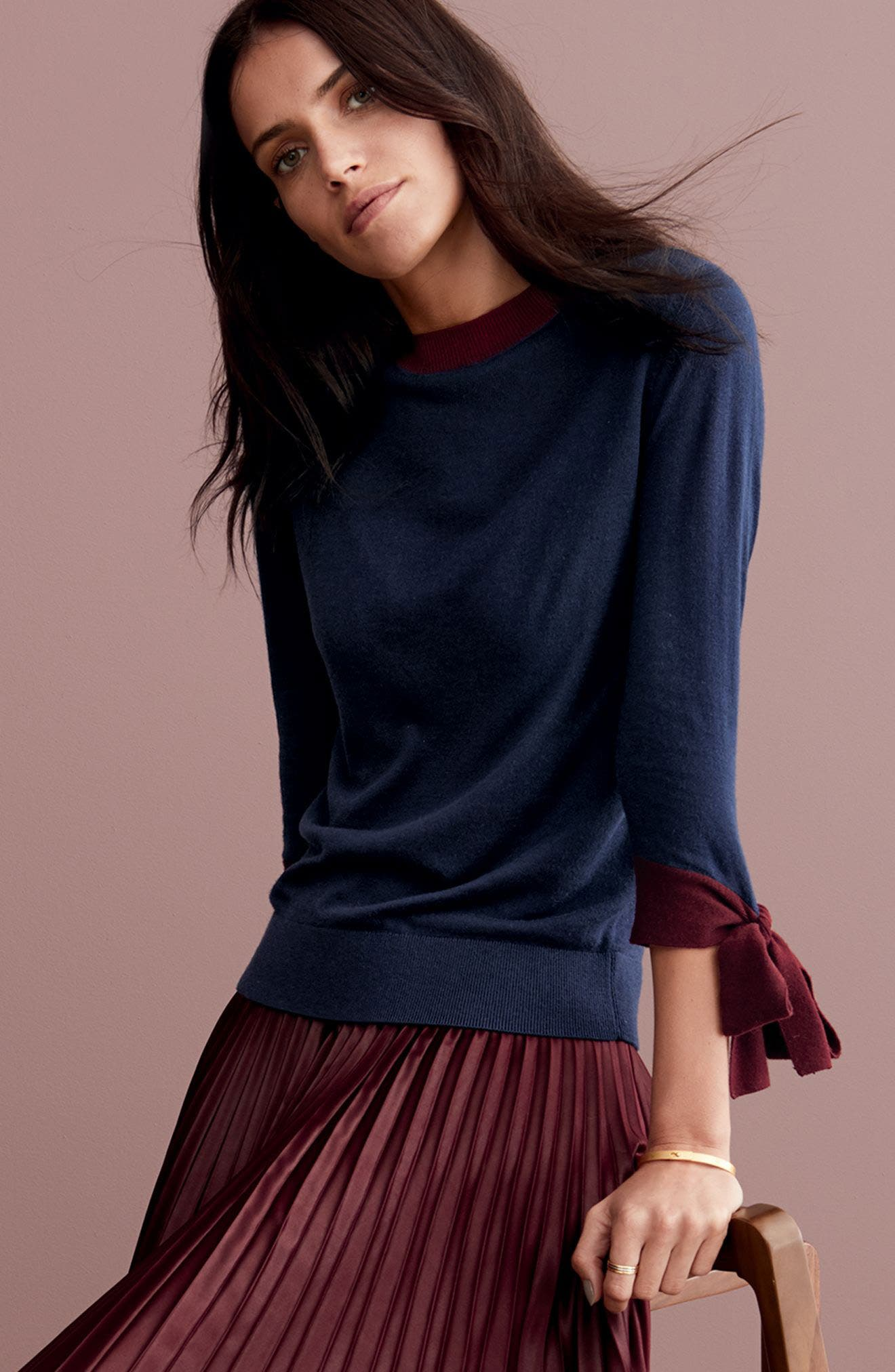 Lacquered Pleated Skirt,                             Alternate thumbnail 3, color,                             Deep Claret