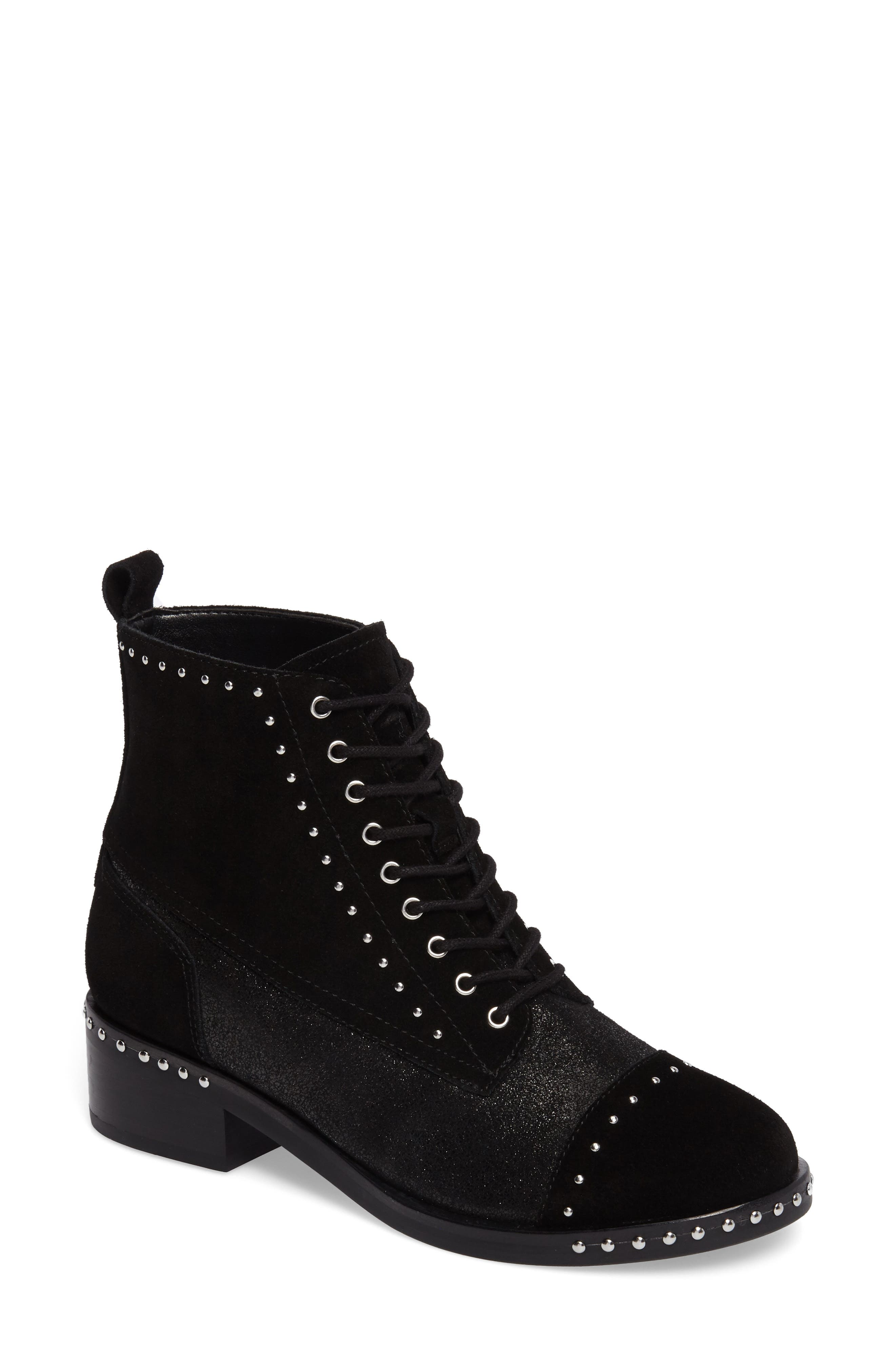 Cassidey Studded Cap Toe Bootie,                             Main thumbnail 1, color,                             Black Suede