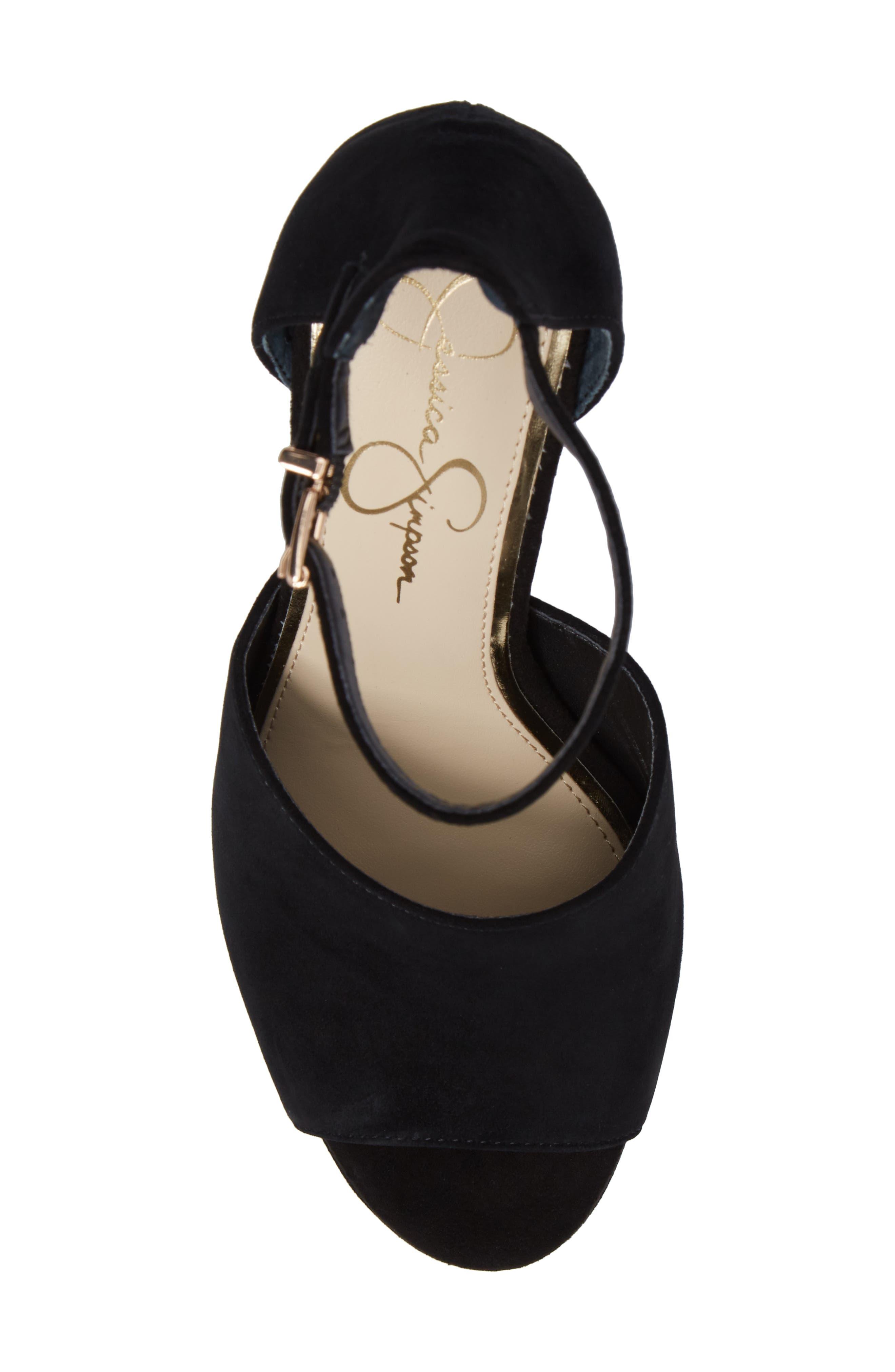 Elin Platform Sandal,                             Alternate thumbnail 5, color,                             Black Suede