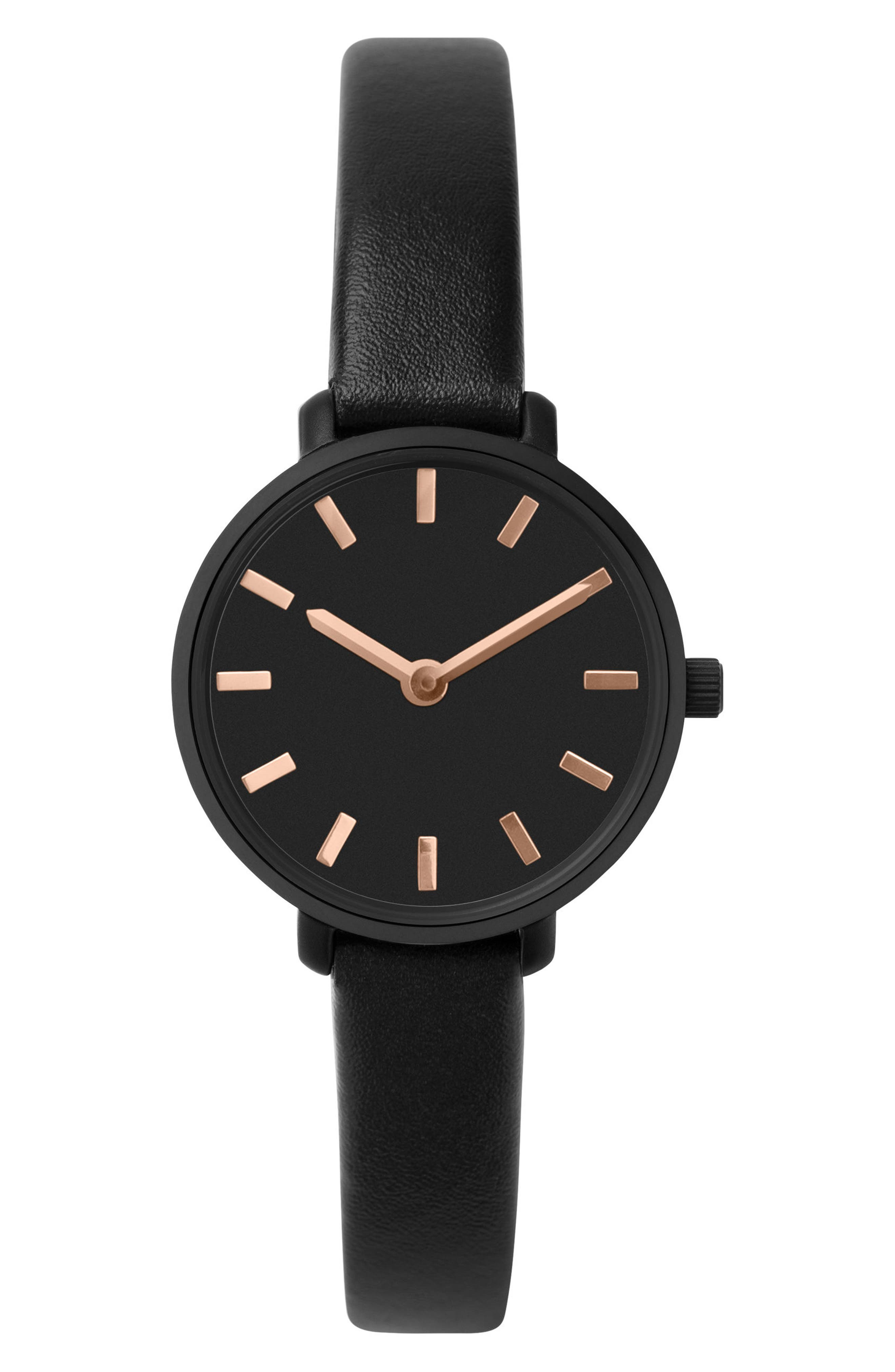 Beverly Round Leather Strap Watch, 26mm,                         Main,                         color, Black