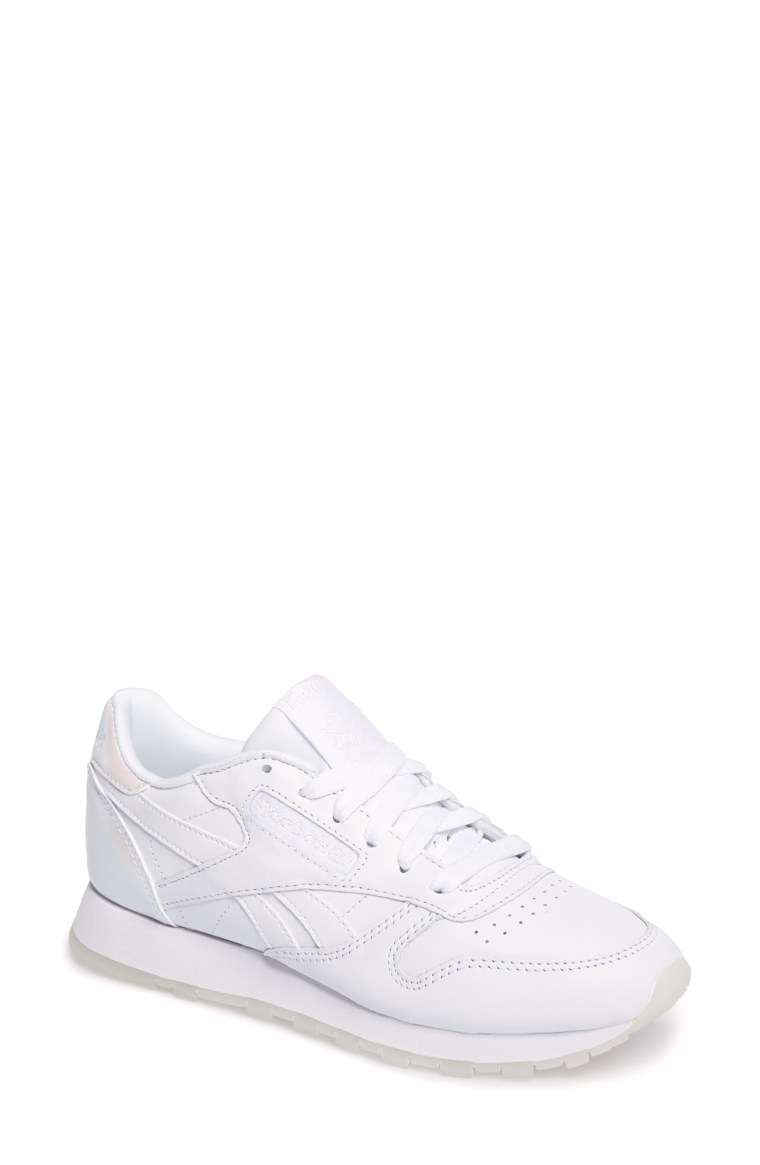 Classic Leather Sneaker,                             Main thumbnail 1, color,                             White/ White/ Ice Pearl