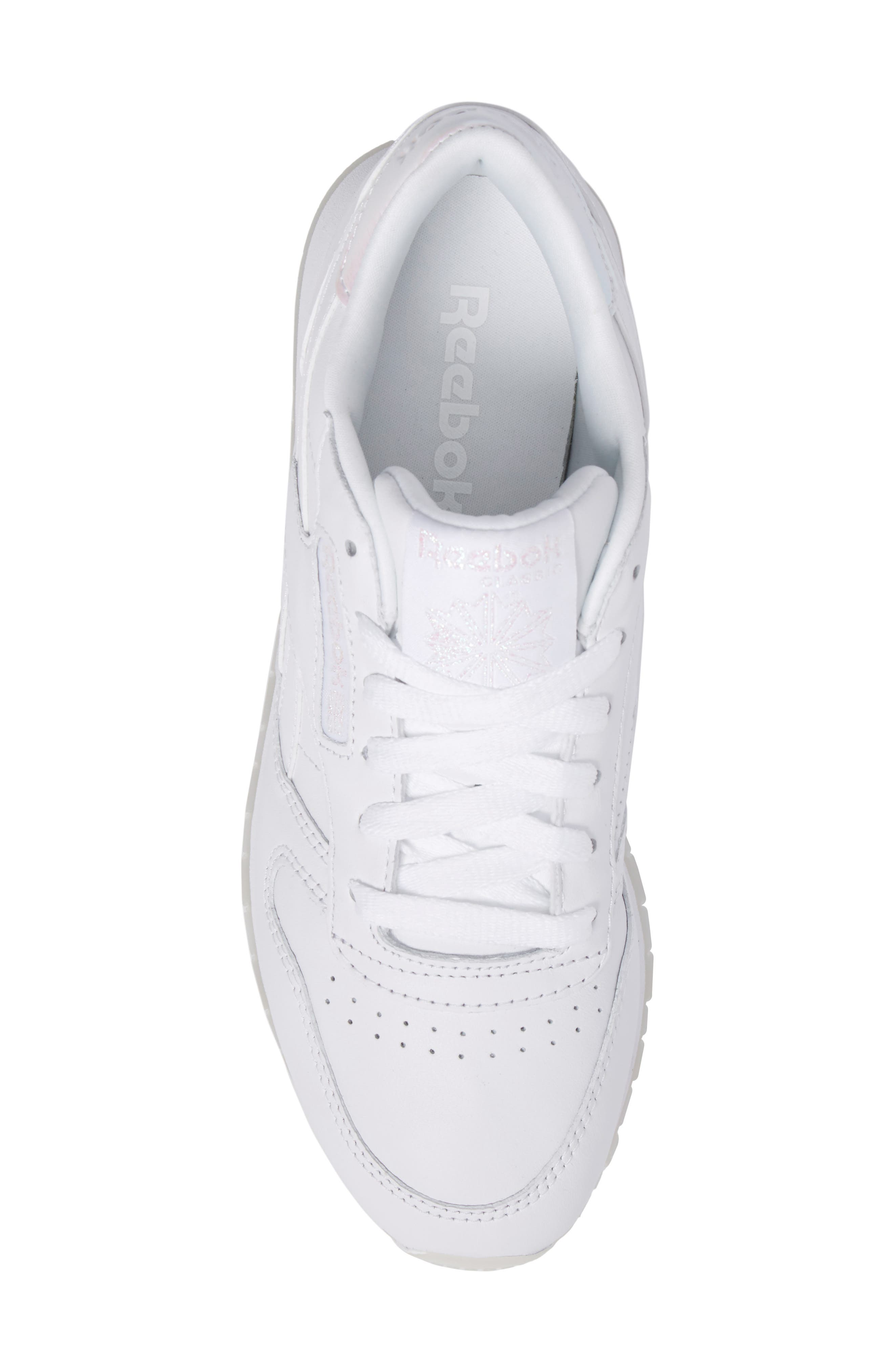 Classic Leather Sneaker,                             Alternate thumbnail 4, color,                             White/ White/ Ice Pearl