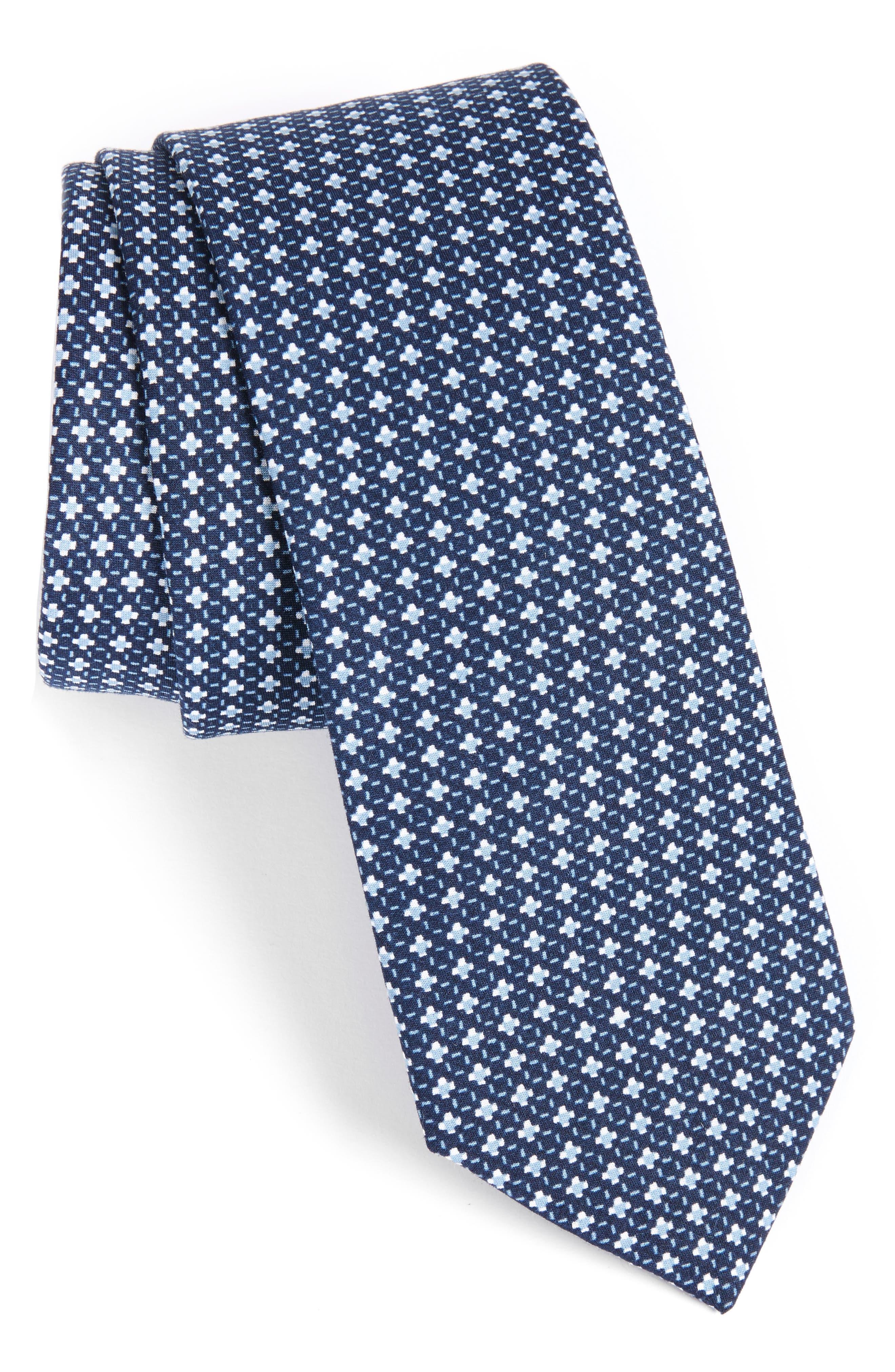 Medallion Cotton Tie,                         Main,                         color, Dark Navy