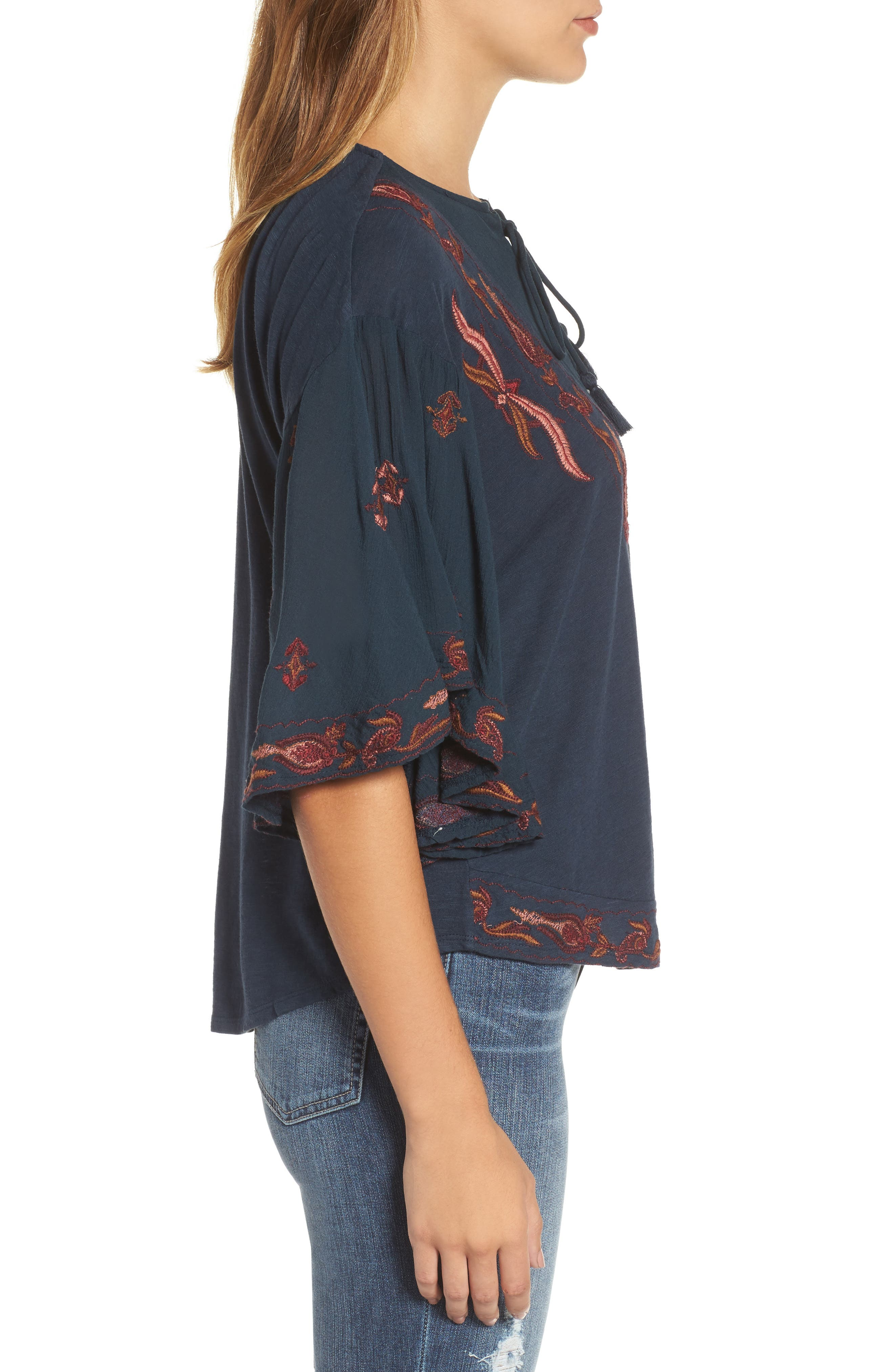 Embroidered Lace Up Peasant Top,                             Alternate thumbnail 3, color,                             Blueberry