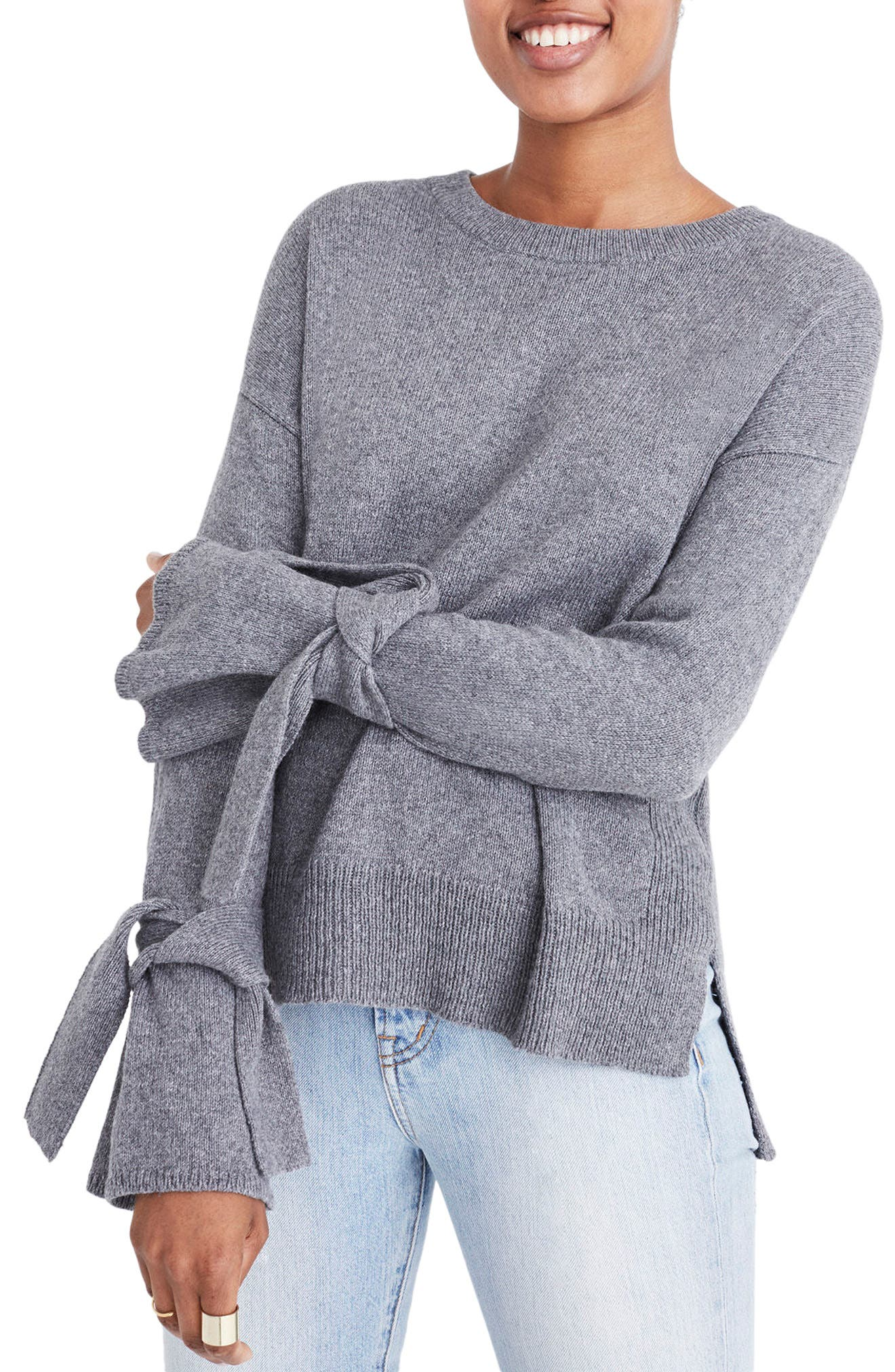 Main Image - Madewell Tie Cuff Pullover Sweater