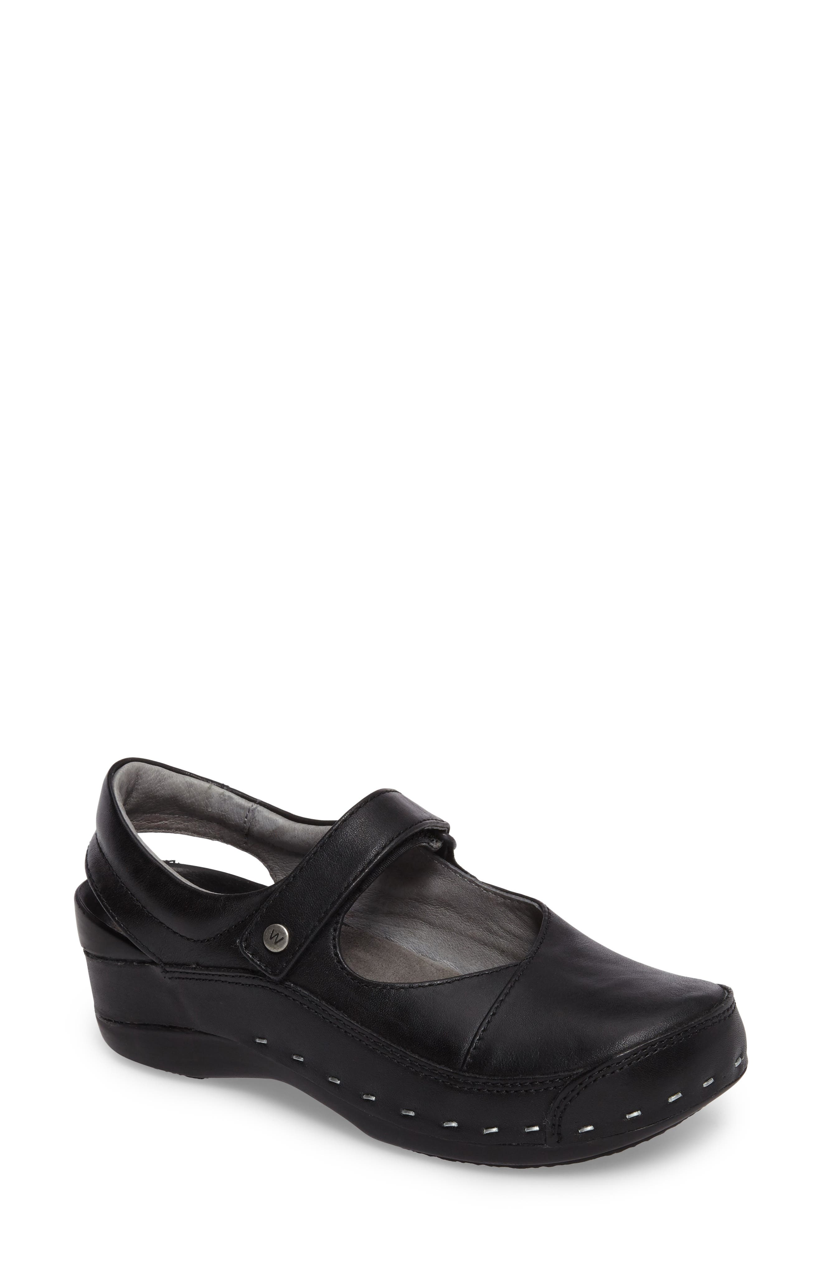 Slingback Clog,                         Main,                         color, Black Mighty Greased Leather