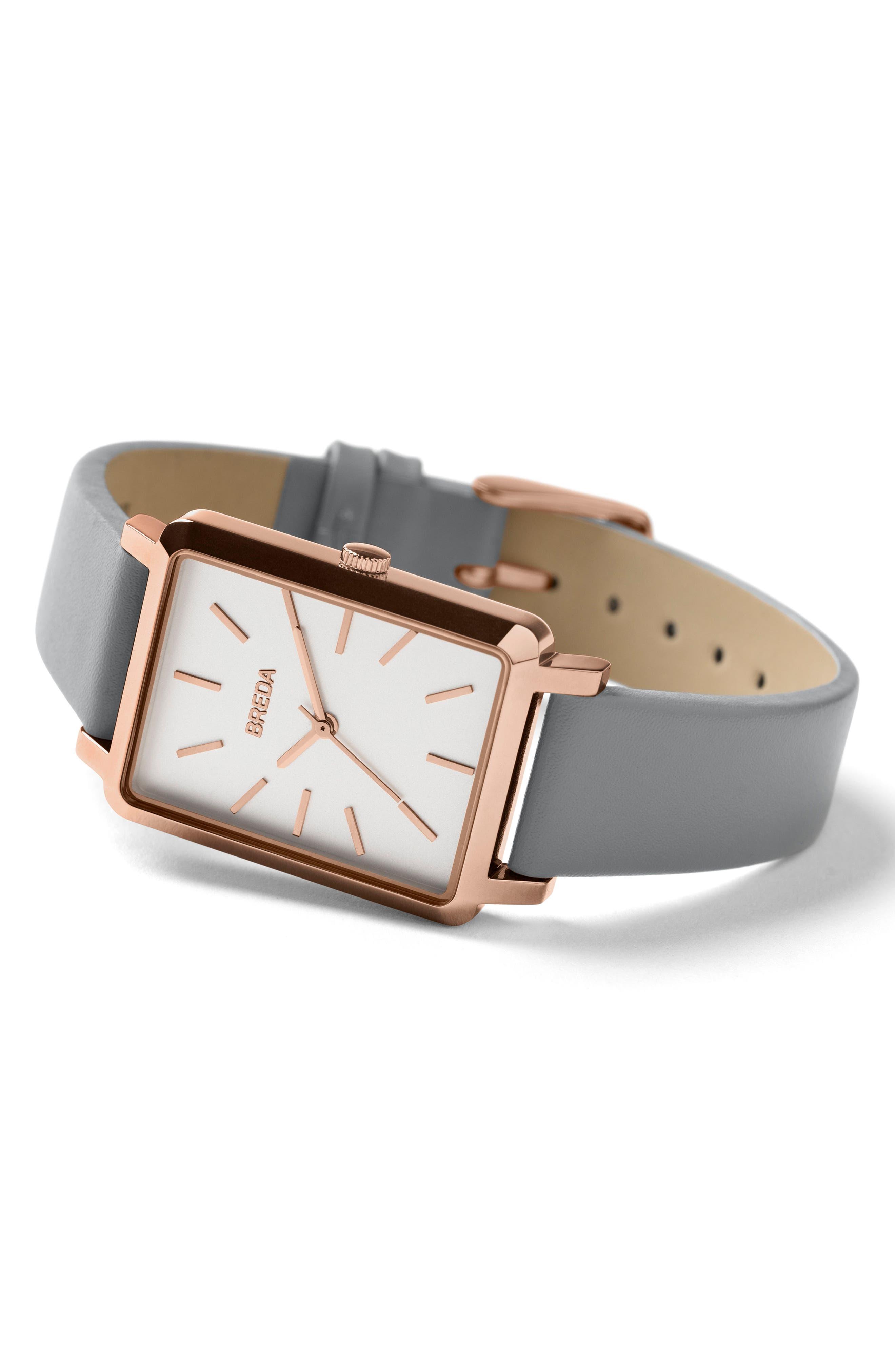 Alternate Image 3  - BREDA Baer Rectangular Leather Strap Watch, 26mm