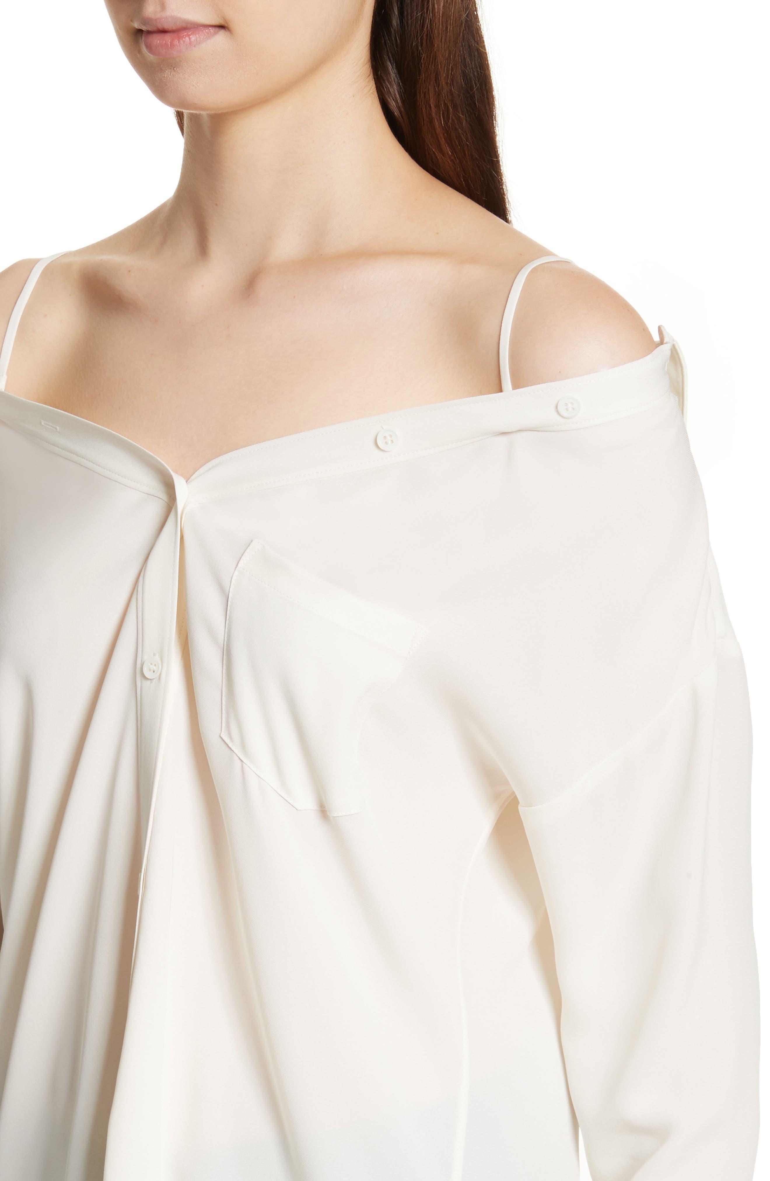 Tamalee Silk Shirt,                             Alternate thumbnail 4, color,                             Ivory