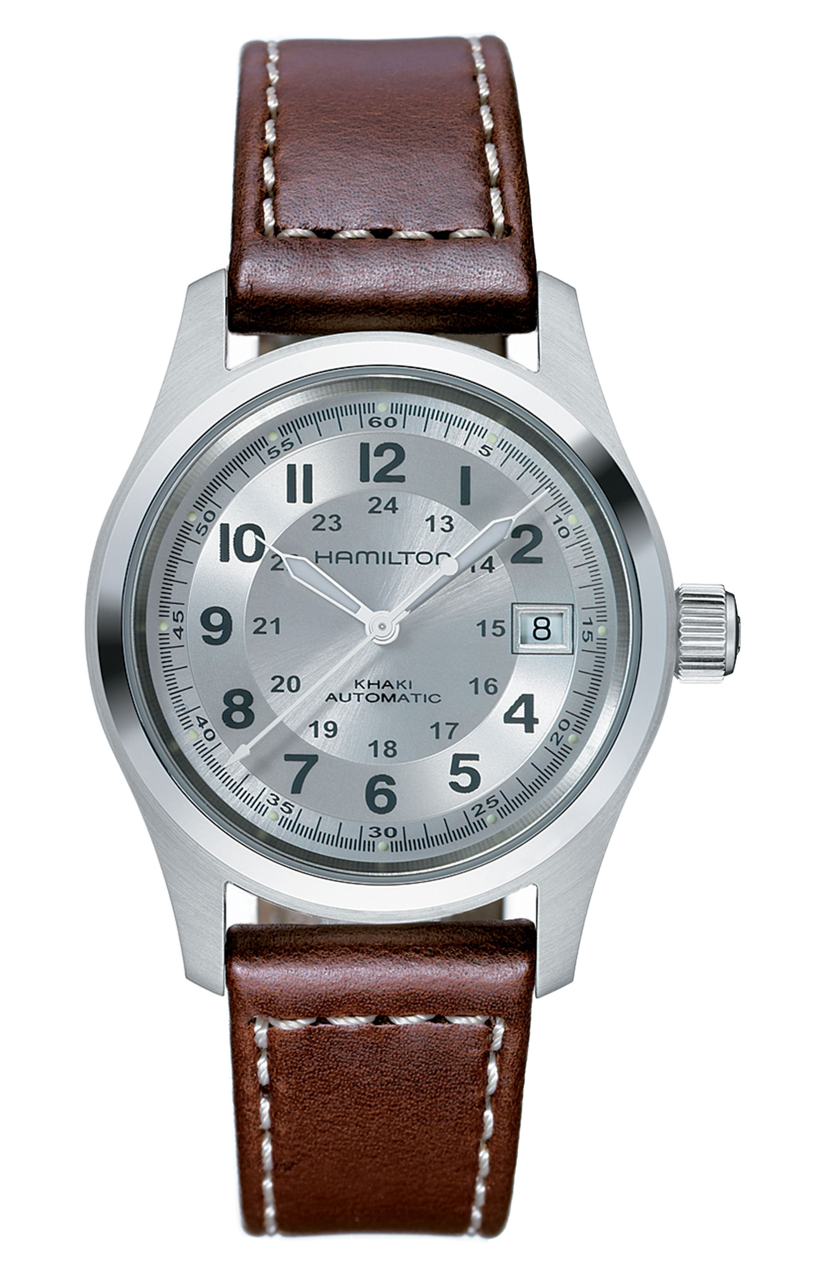 Khaki Field Automatic Leather Strap Watch, 38mm,                         Main,                         color, Brown/ Silver