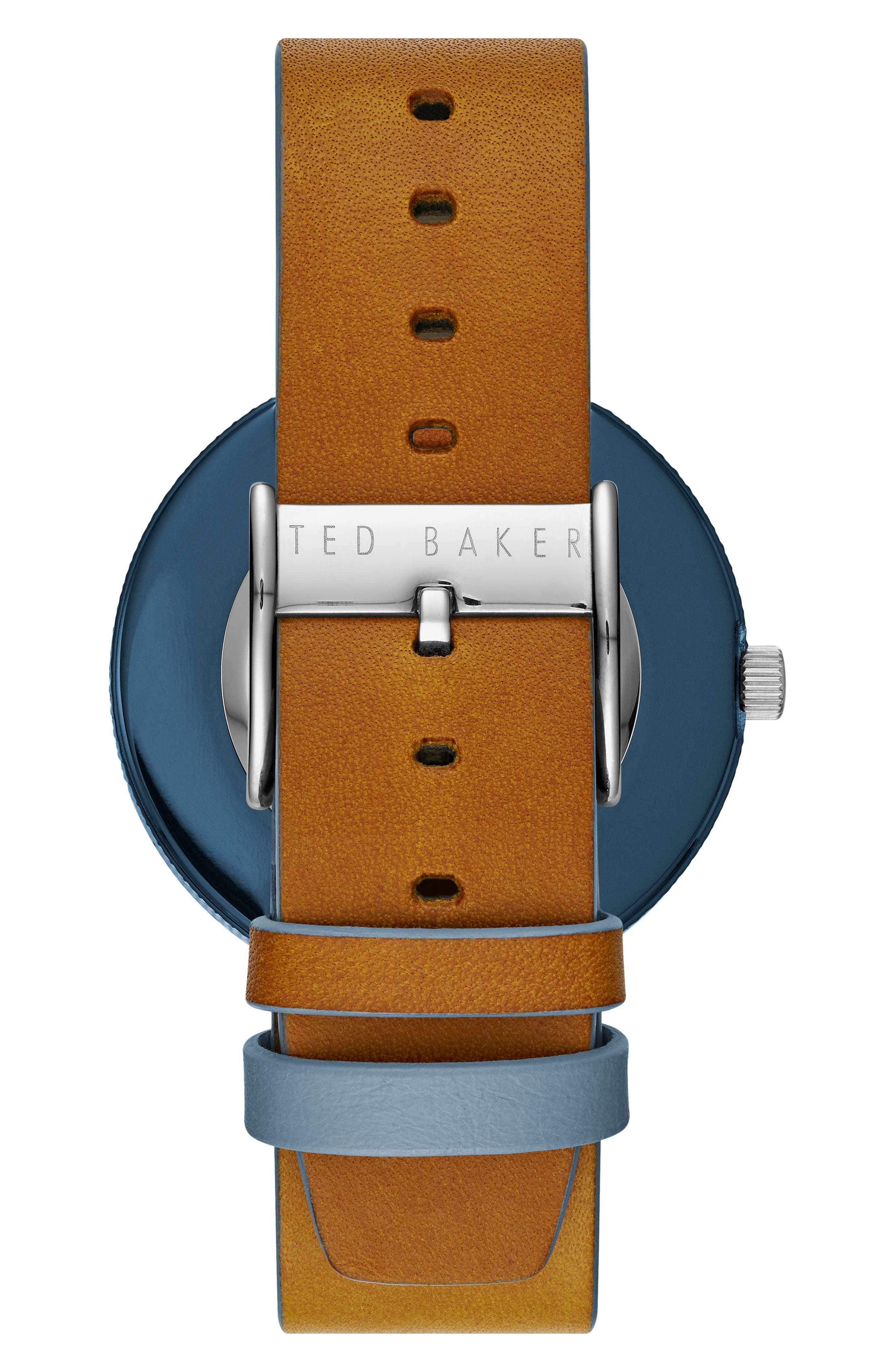 Josh Leather Strap Watch, 42mm,                             Alternate thumbnail 2, color,                             Blue/ Brown