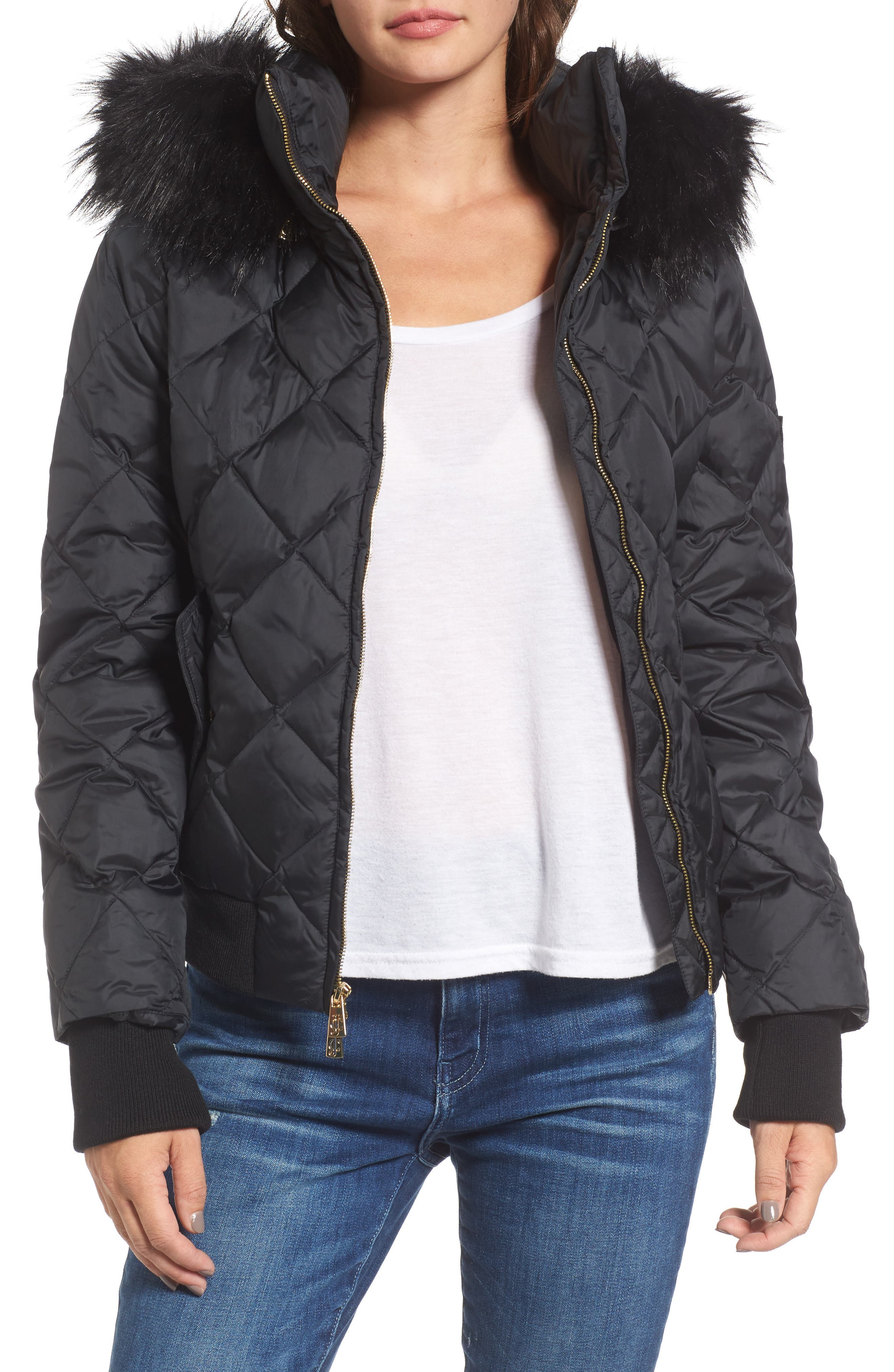 Hooded Puffer Jacket with Faux Fur Trim,                         Main,                         color, Pitch Black