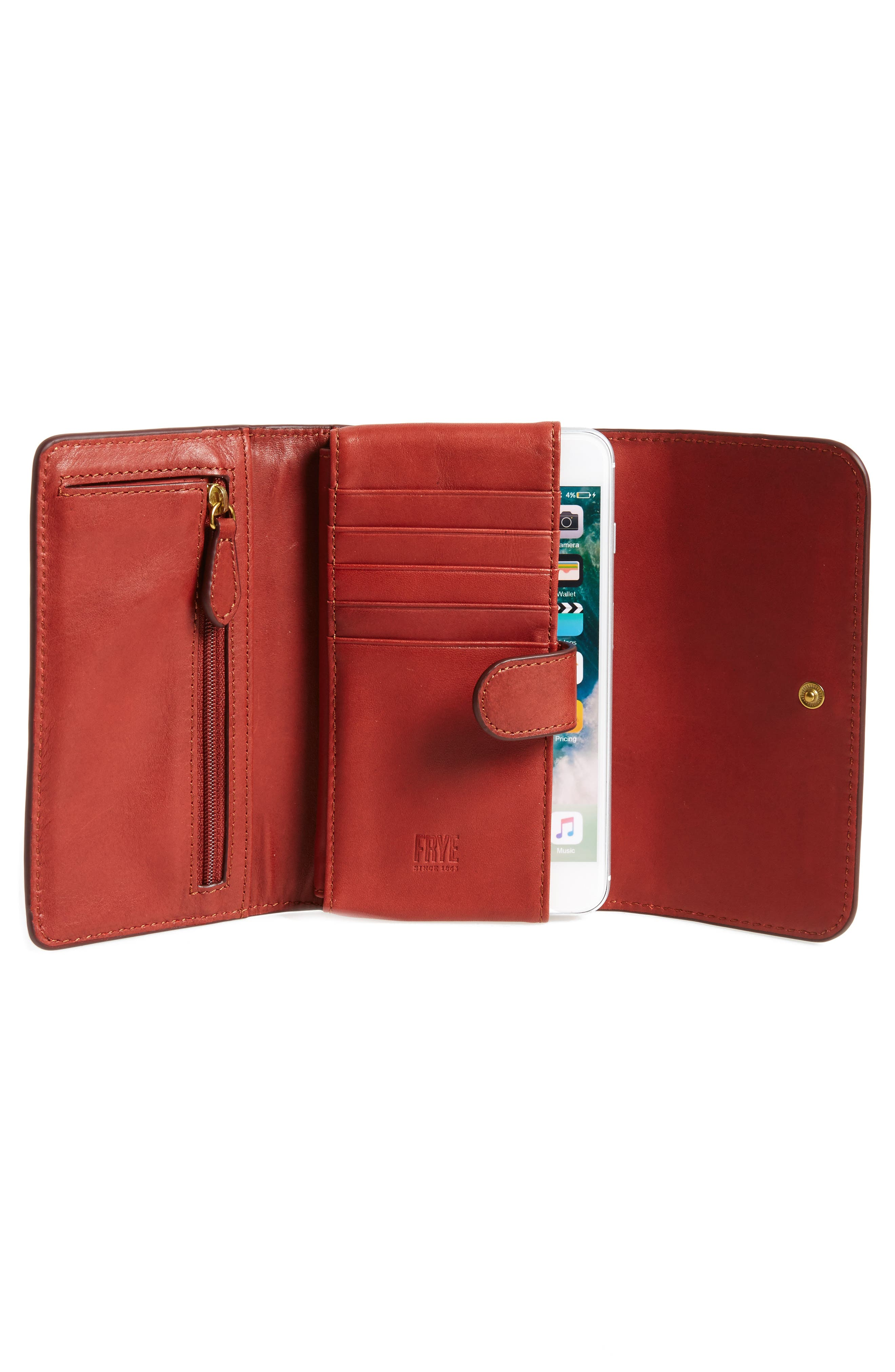 Campus Rivet Leather Smartphone Wallet with Crossbody Strap,                             Alternate thumbnail 2, color,                             Burnt Red