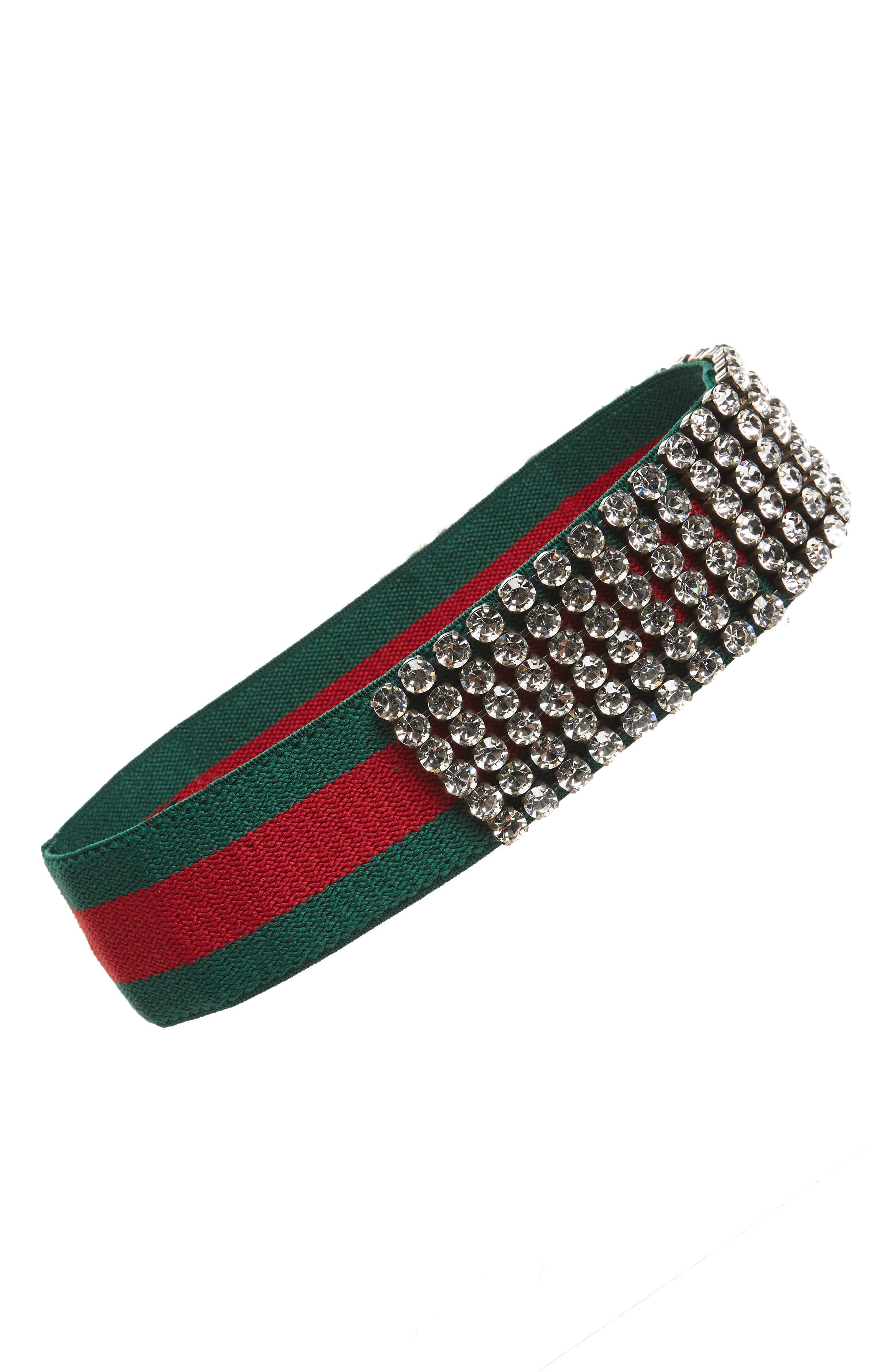 Webby Crystal Embellished Headband,                         Main,                         color, Green
