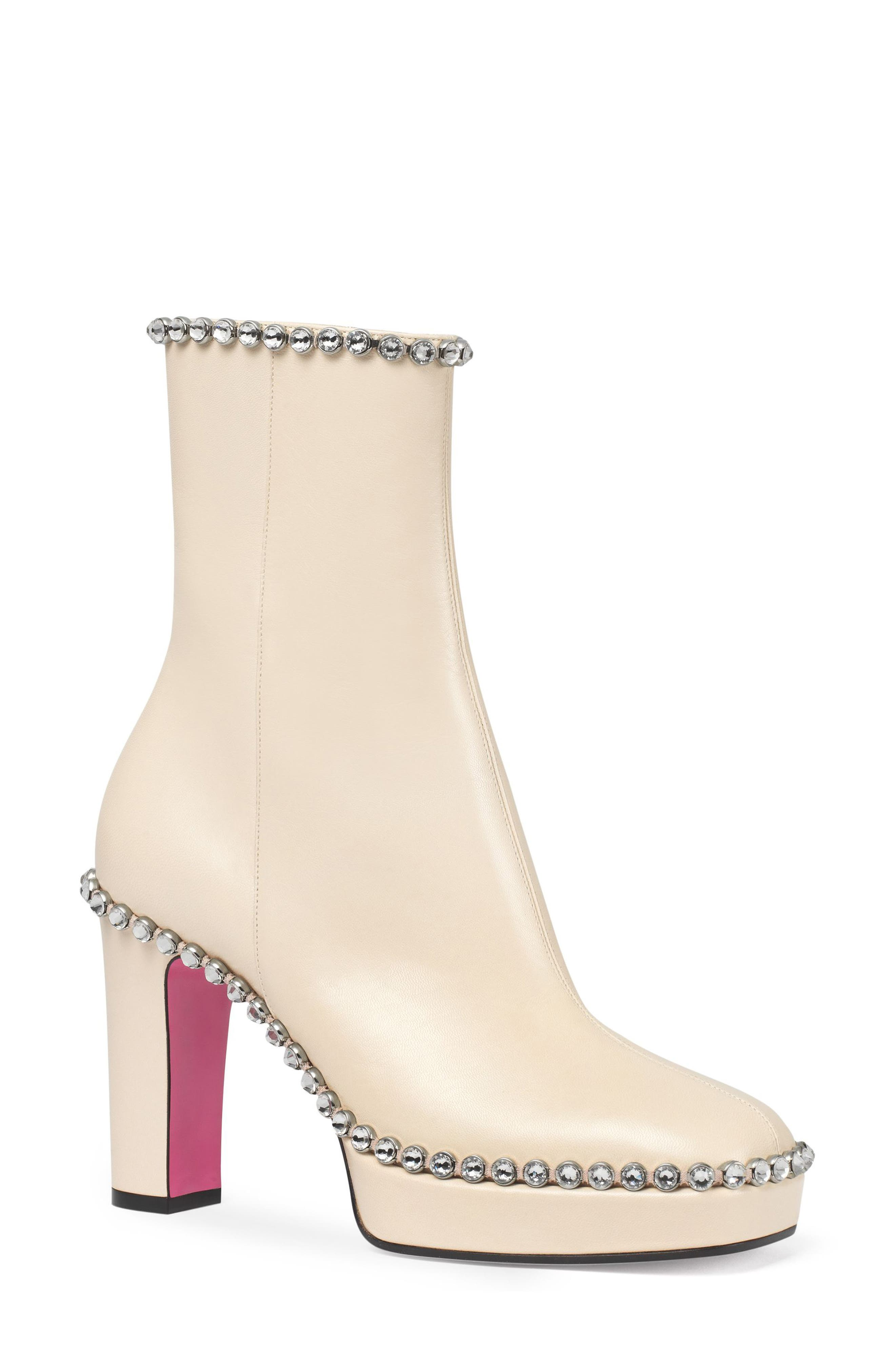 Olimpia Crystal Embellished Platform Boot,                         Main,                         color, White Leather