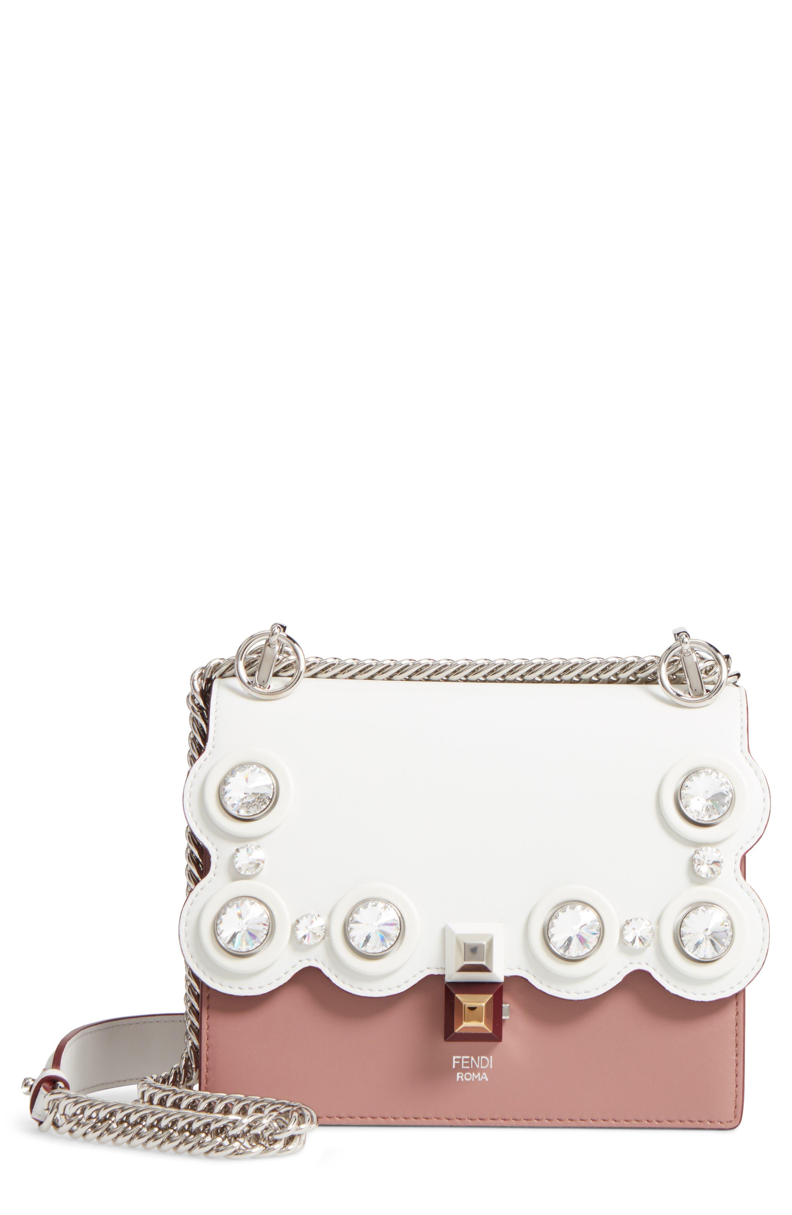 Fendi Small Kan I Crystal Stud Calfskin Shoulder Bag