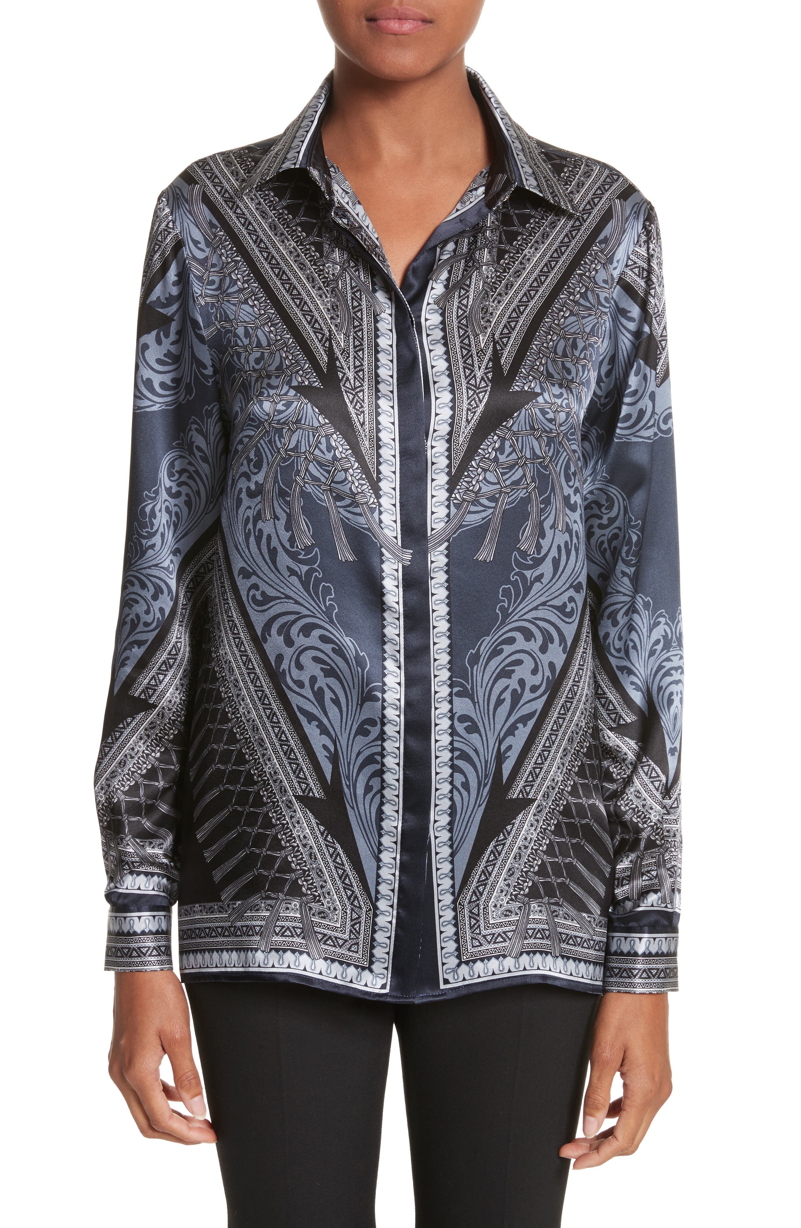 Versace Collection Scarf Print Silk Blouse