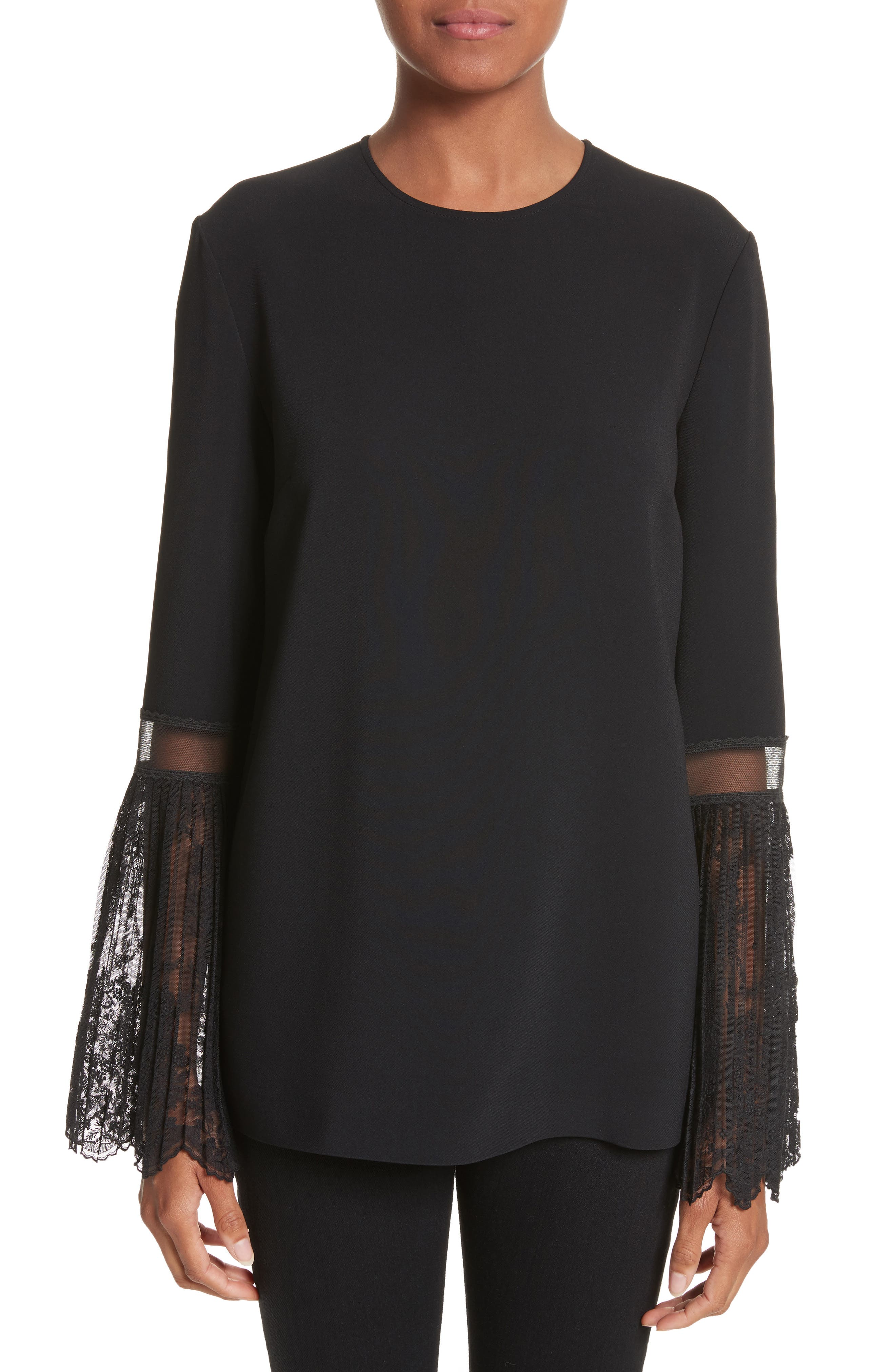Tulle Cuff Stretch Cady Blouse,                         Main,                         color, Black