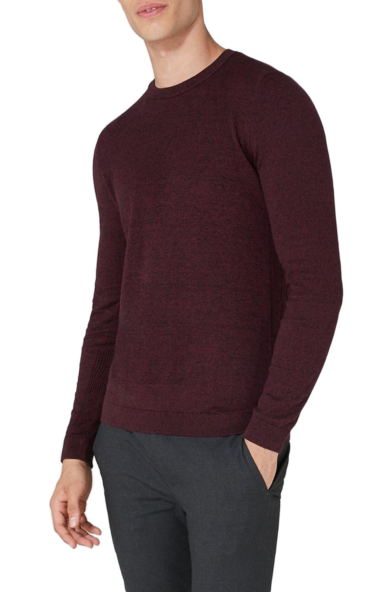 Alternate Image 1 Selected - Topman Side Ribbed Slim Fit Sweater