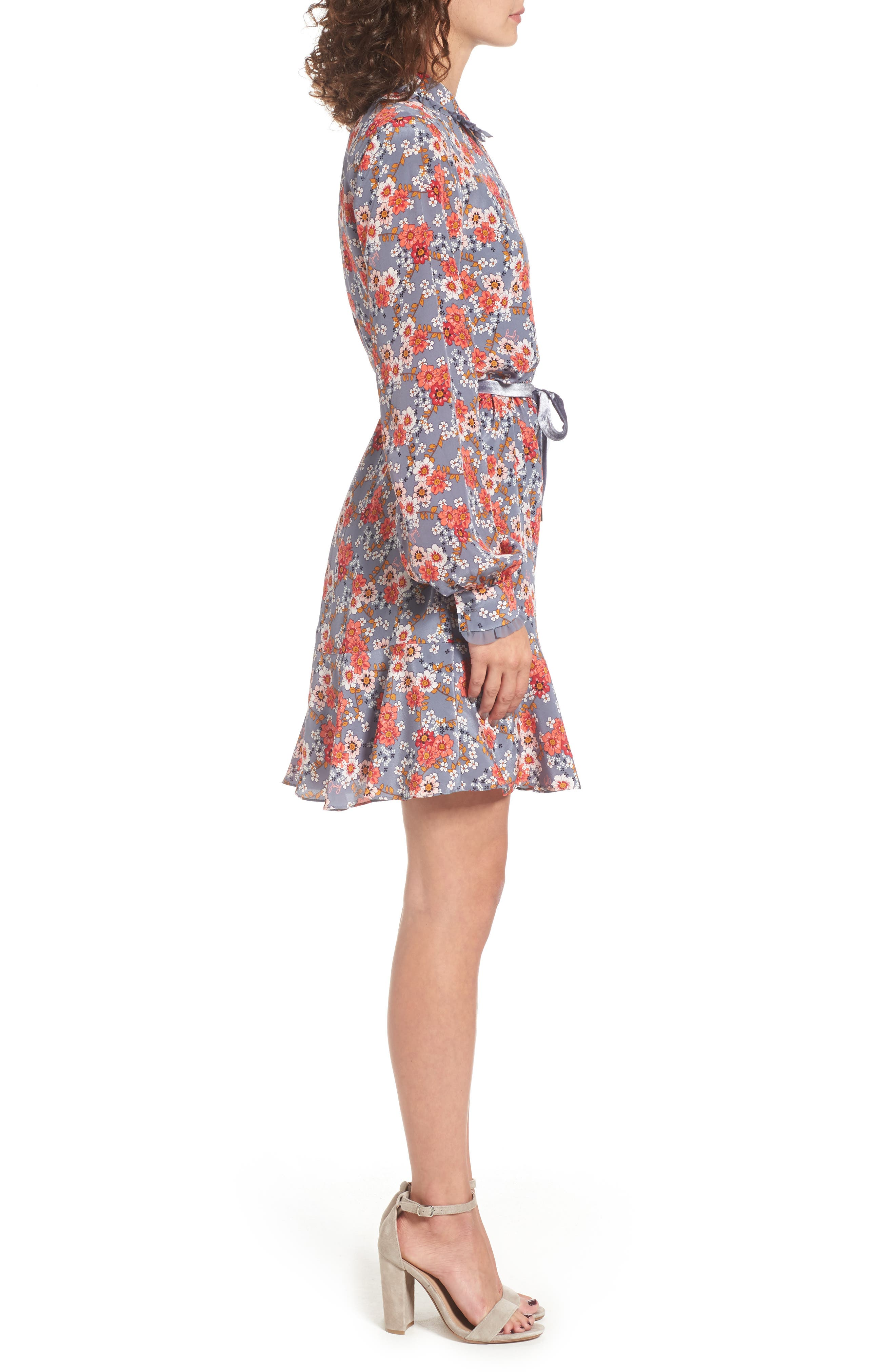 Larchmont Blooms Silk Shirtdress,                             Alternate thumbnail 3, color,                             Slate Swirl Larchmonth Blooms