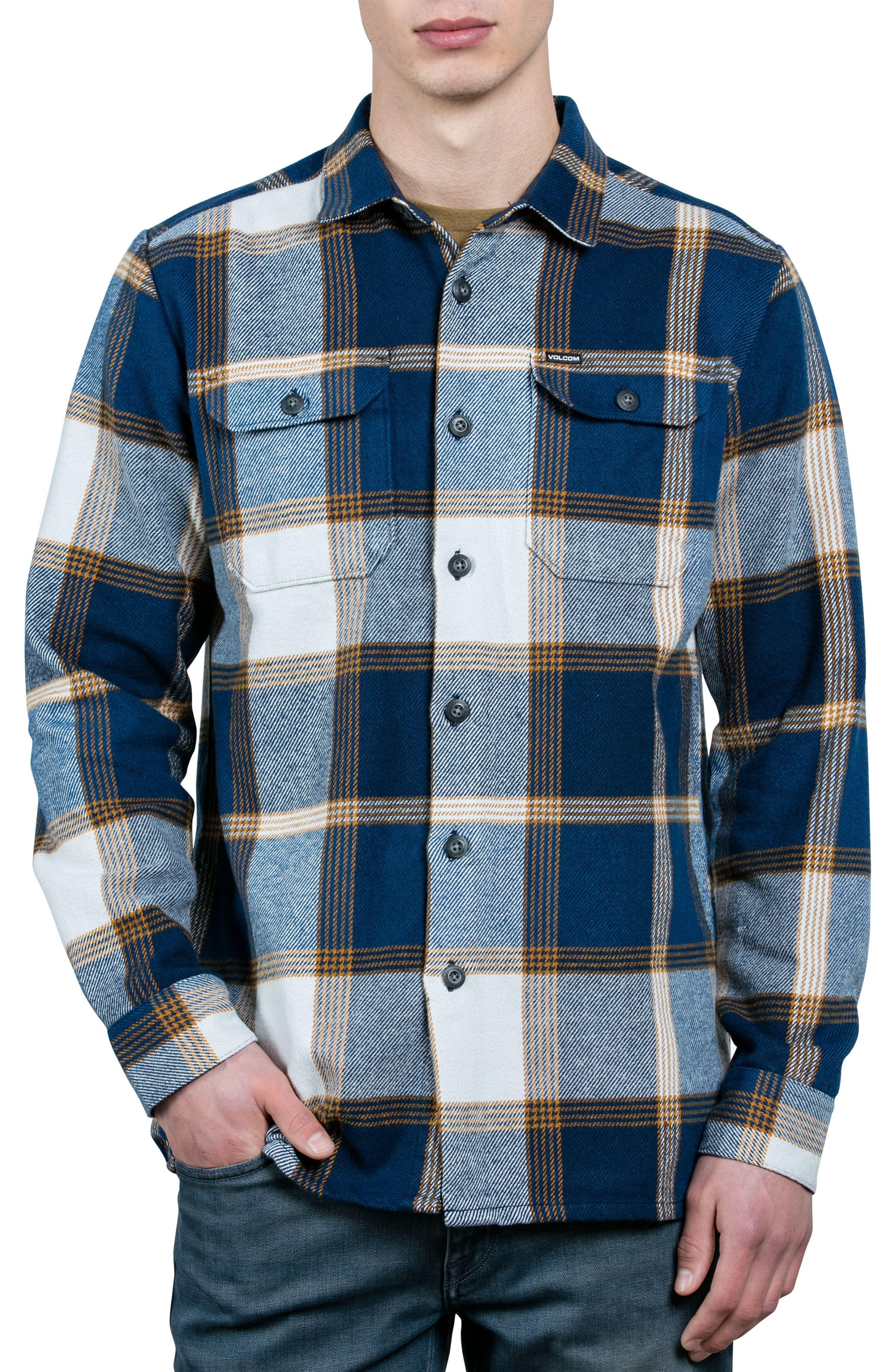 Heavy Daze Plaid Flannel Shirt Jacket,                         Main,                         color, Blue