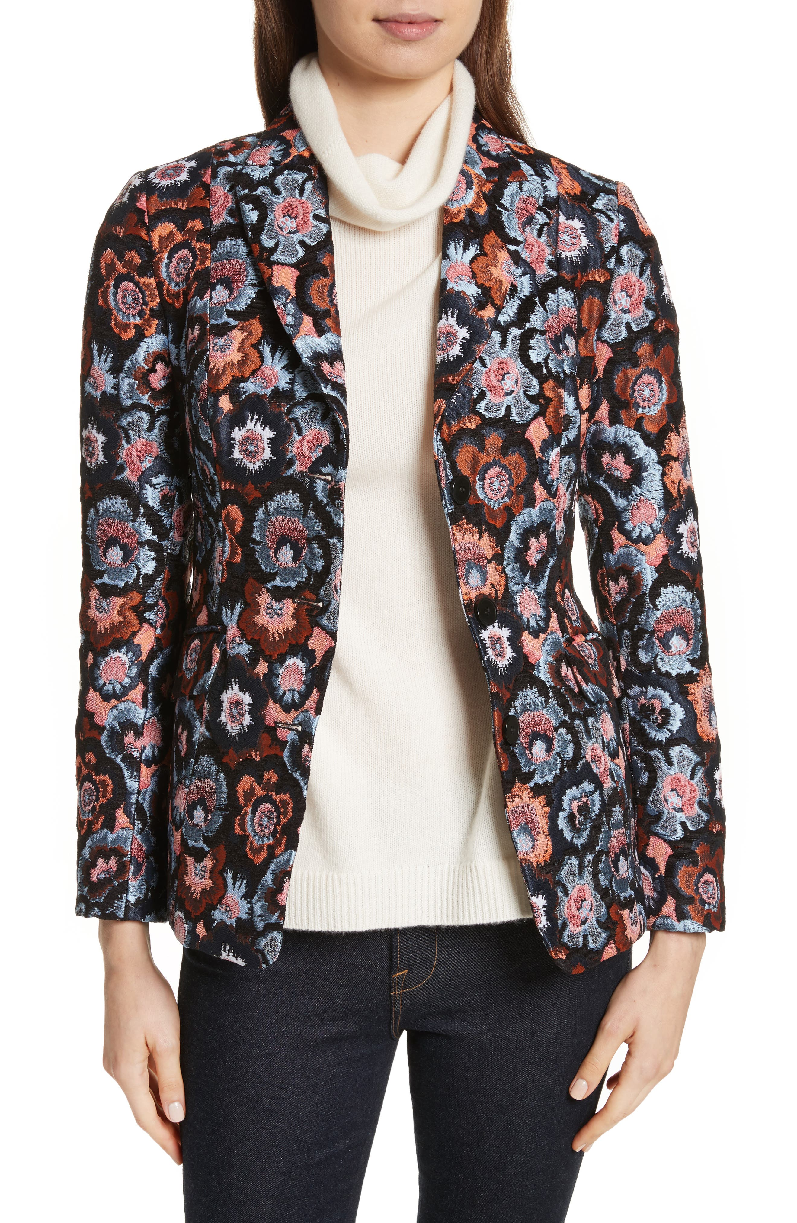 Theory Floral Jacquard Riding Jacket