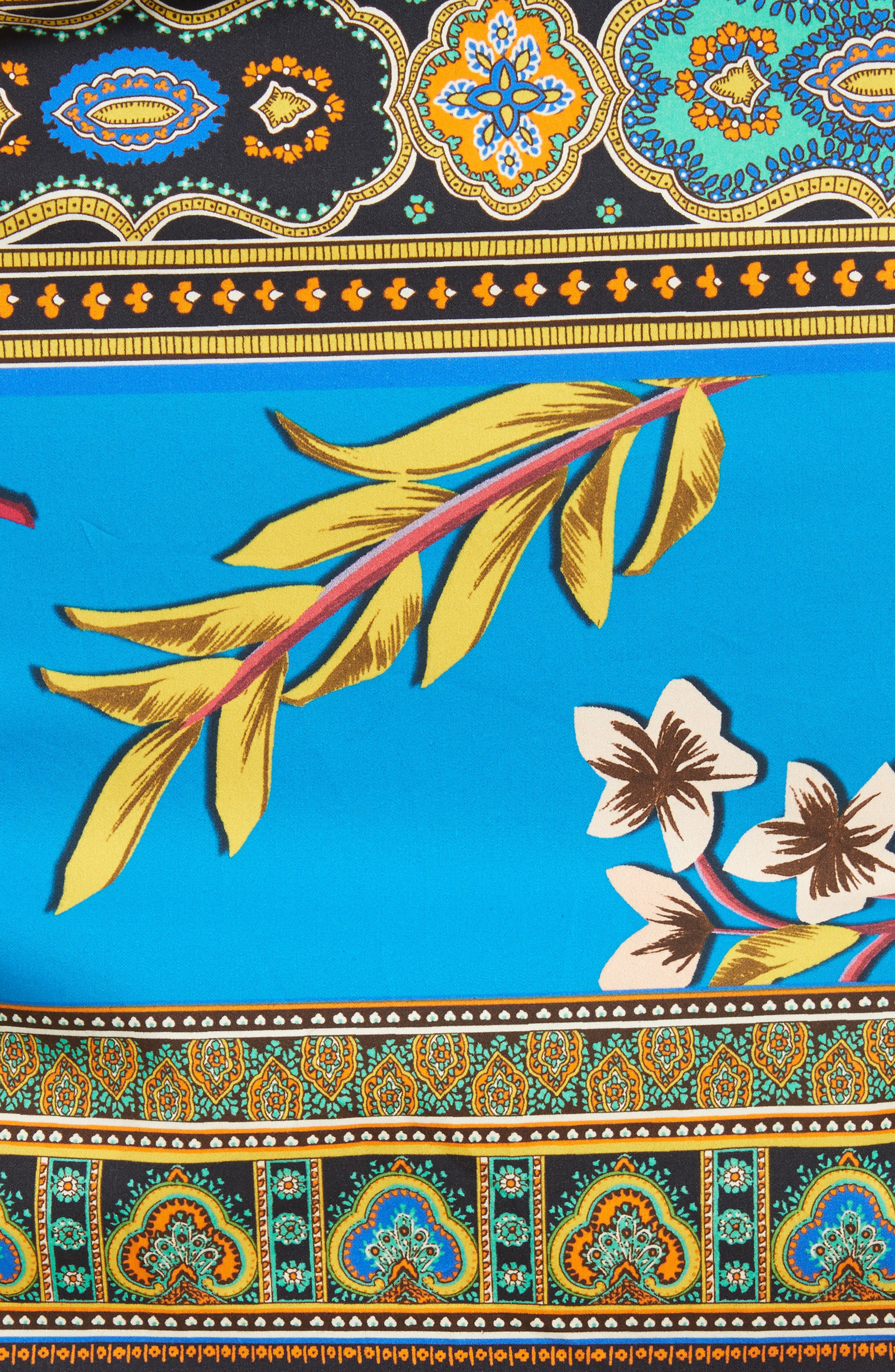 Floral Geo Print Cotton Skirt,                             Alternate thumbnail 4, color,                             Multi